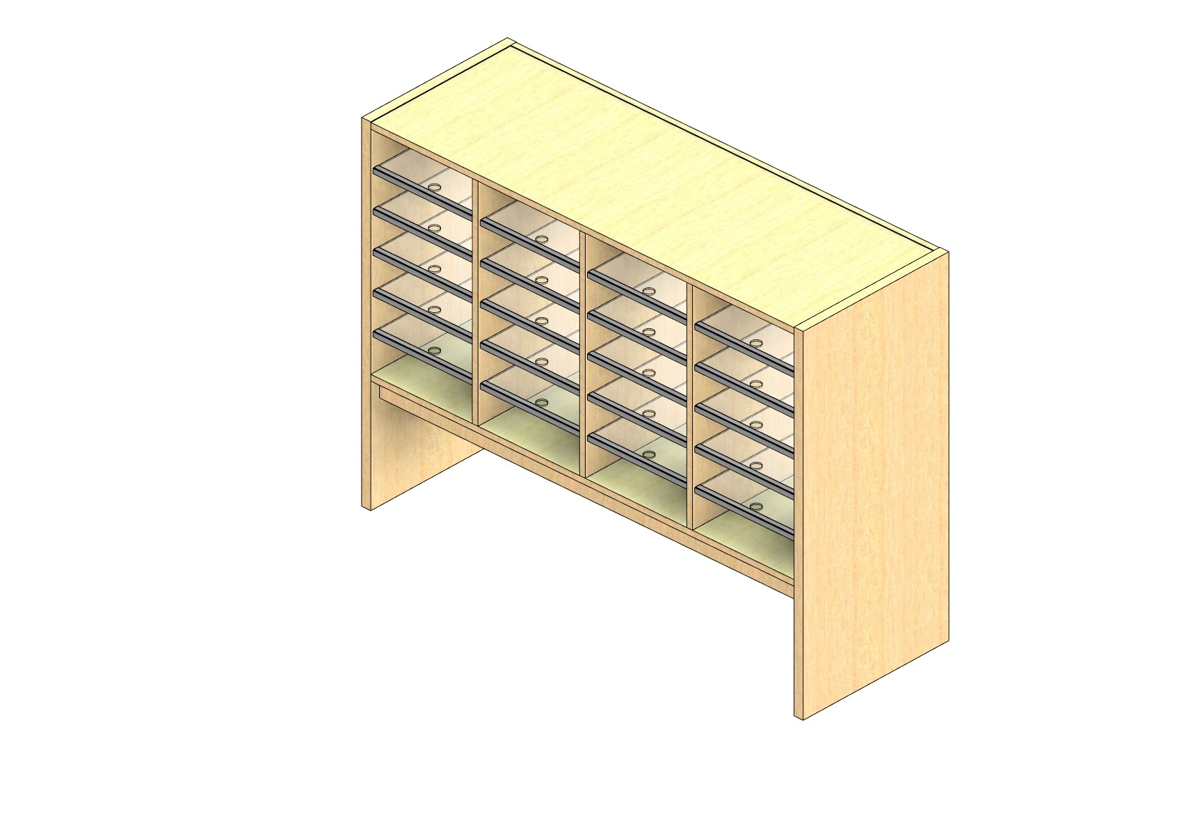 """Legal Sized Closed Back Sort Module - 4 Columns - 24"""" Sorting Height w/ 12"""" Riser"""
