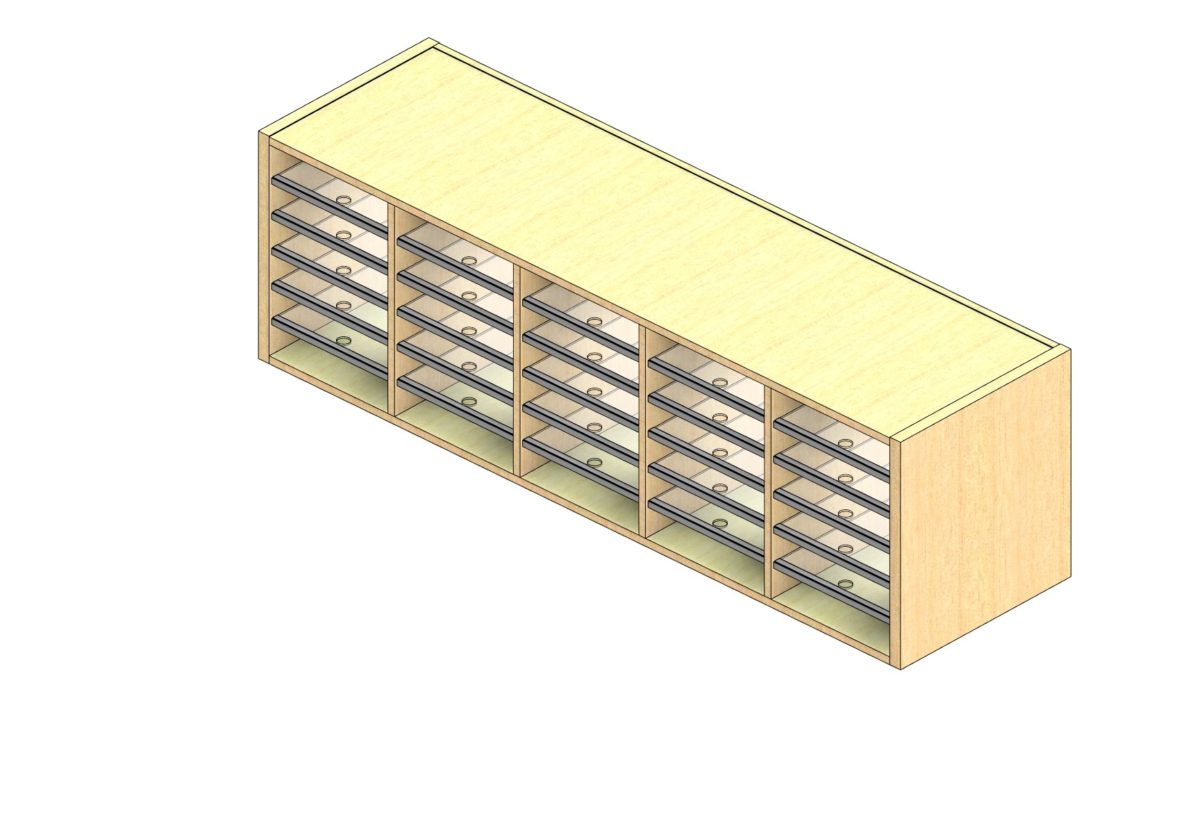 """Legal Sized Closed Back Sort Module - 5 Columns - 18"""" Sorting Height w/ No Riser"""