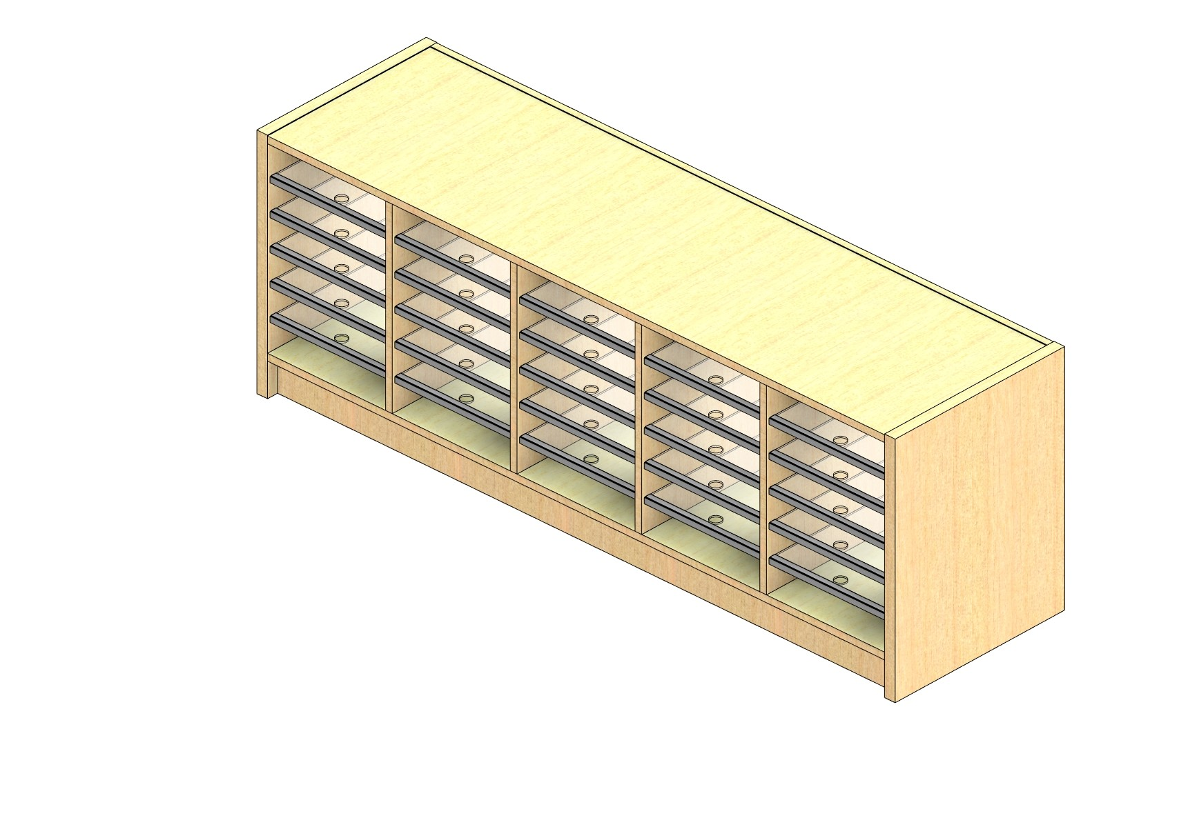 """Legal Sized Closed Back Sort Module - 5 Columns - 18"""" Sorting Height w/ 3"""" Riser"""