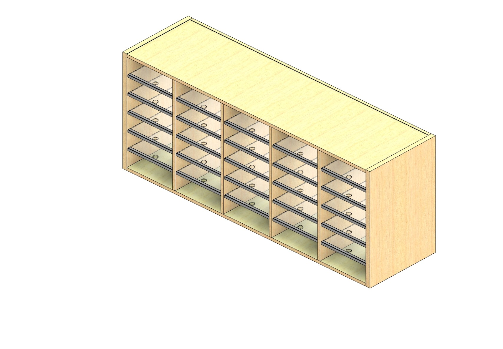 """Legal Sized Closed Back Sort Module - 5 Columns - 24"""" Sorting Height w/ No Riser"""