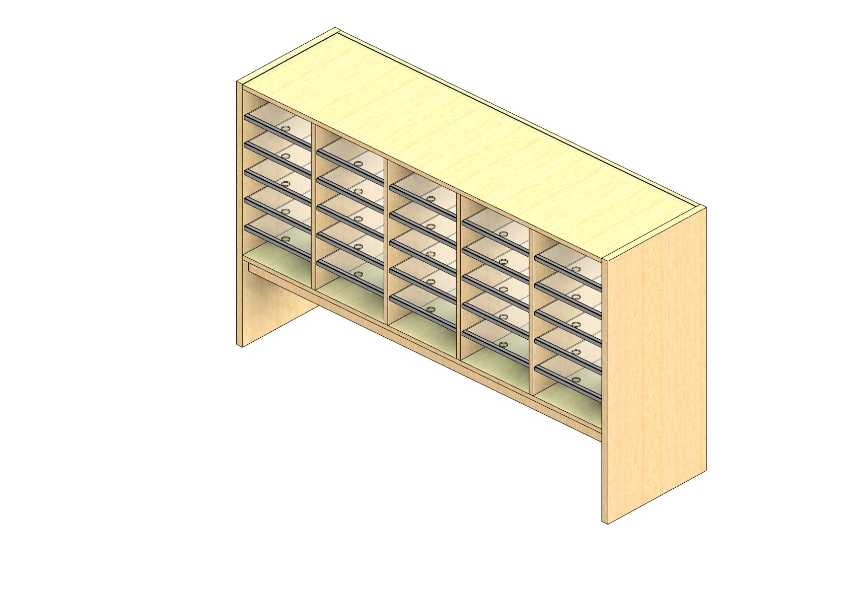 """Legal Sized Closed Back Sort Module - 5 Columns - 24"""" Sorting Height w/ 12"""" Riser"""