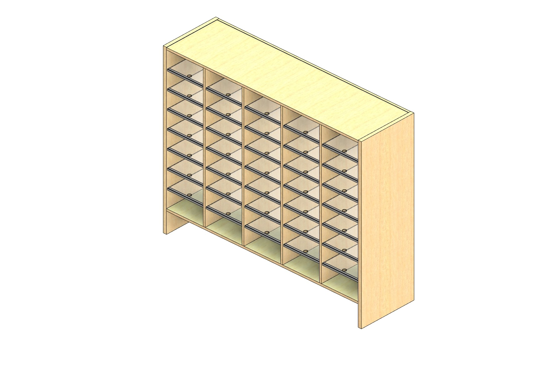 "Legal Sized Open Back Sort Module - 5 Columns - 42"" Sorting Height w/ 6"" Riser"