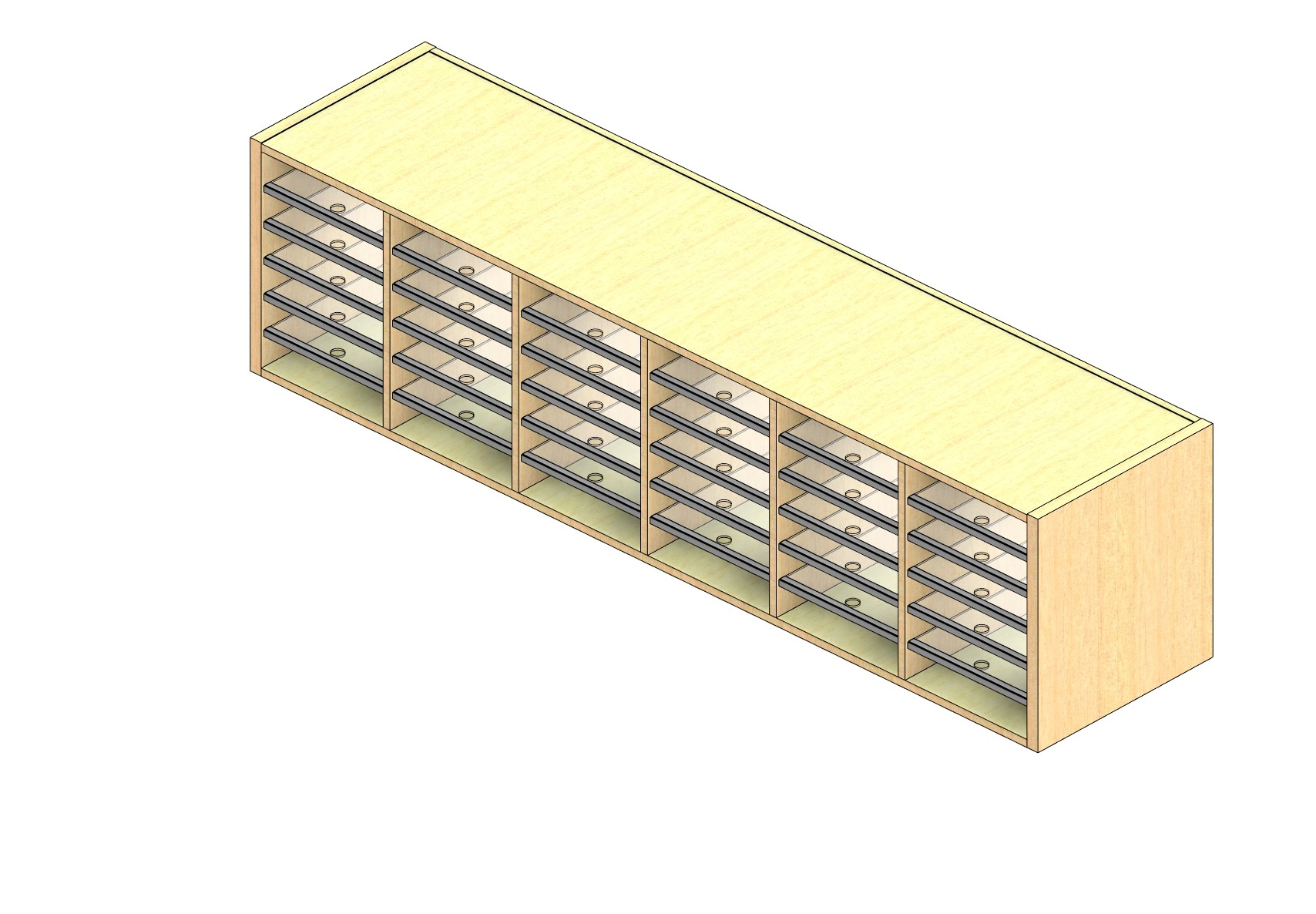 """Legal Sized Open Back Sort Module - 6 Columns - 18"""" Sorting Height w/ No Riser"""