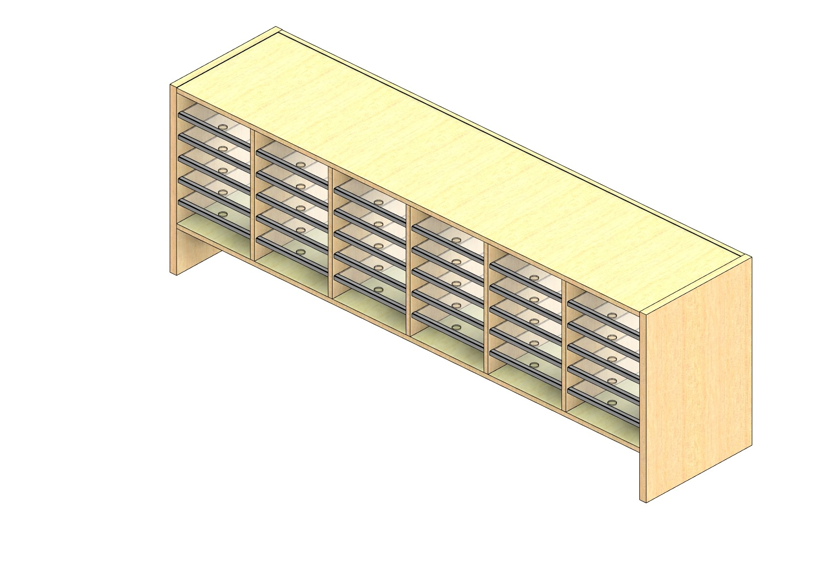 """Legal Sized Closed Back Sort Module - 6 Columns - 18"""" Sorting Height w/ 6"""" Riser"""