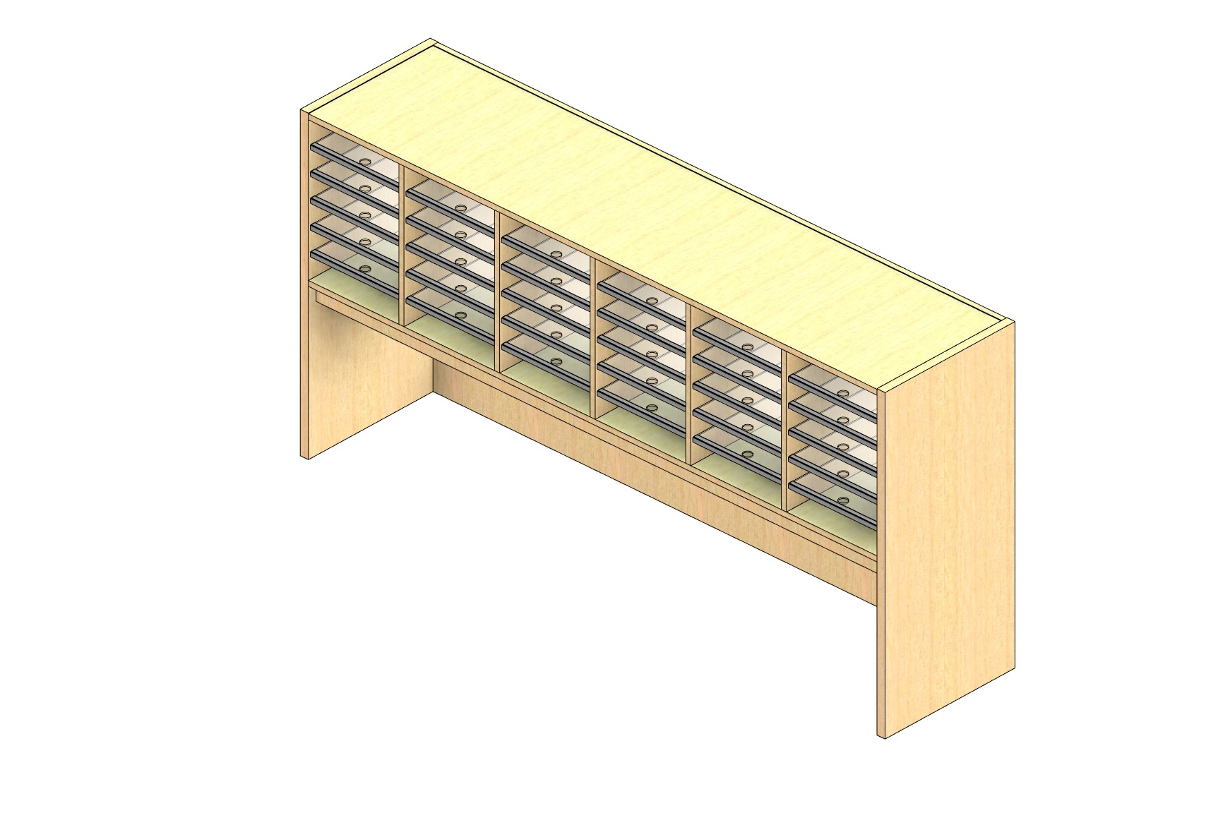 """Legal Sized Closed Back Sort Module - 6 Columns - 18"""" Sorting Height w/ 18"""" Riser"""