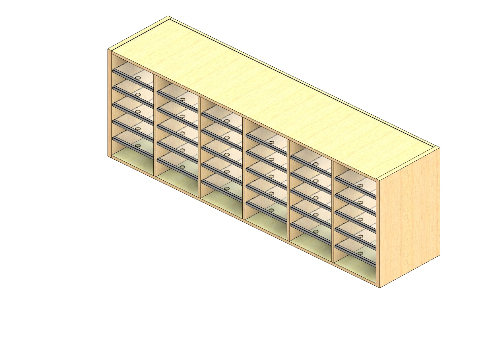 """Legal Sized Open Back Sort Module - 6 Columns - 24"""" Sorting Height w/ No Riser"""
