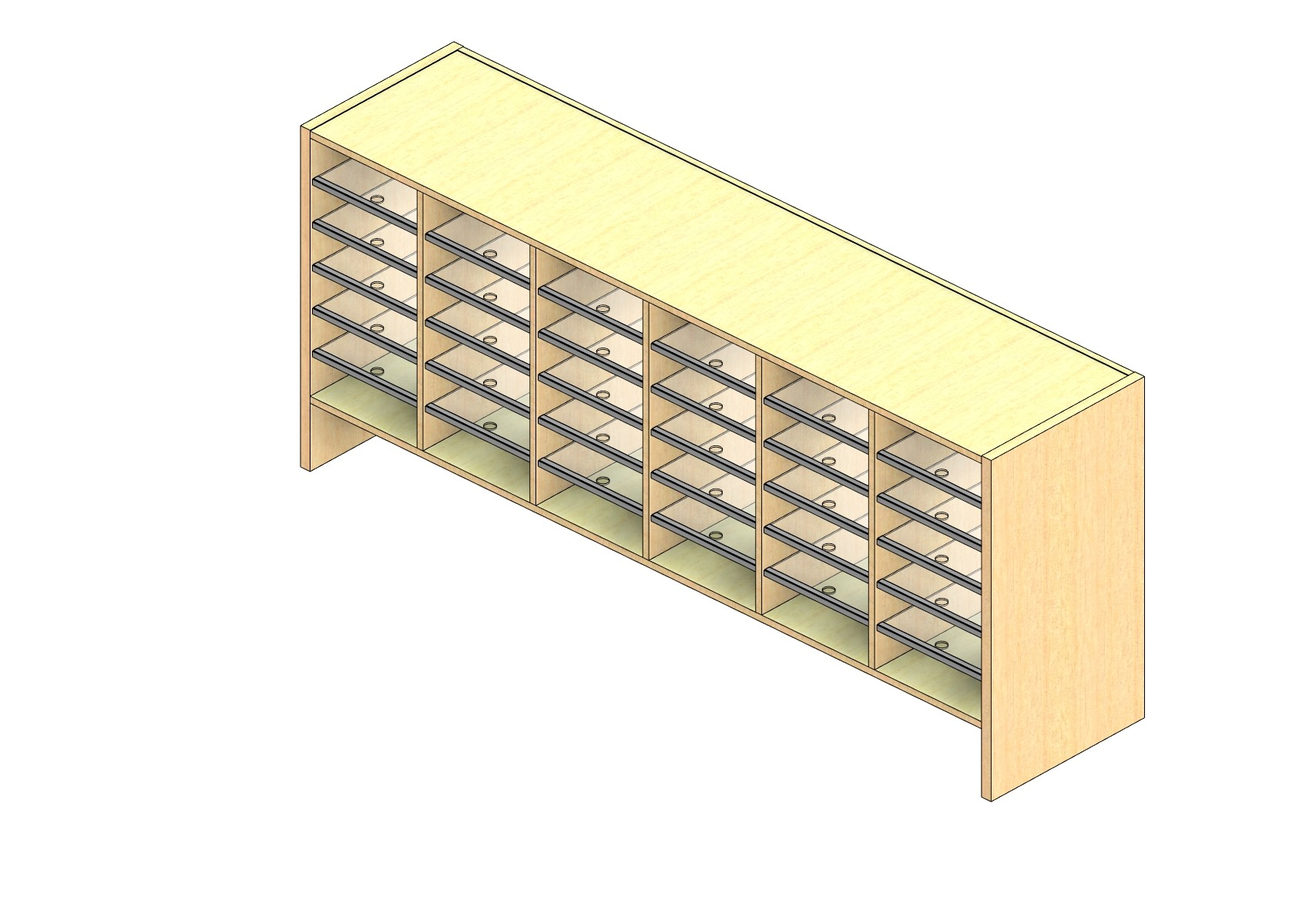 "Legal Sized Plexi Back Sort Module - 6 Columns - 24"" Sorting Height w/ 6"" Riser"