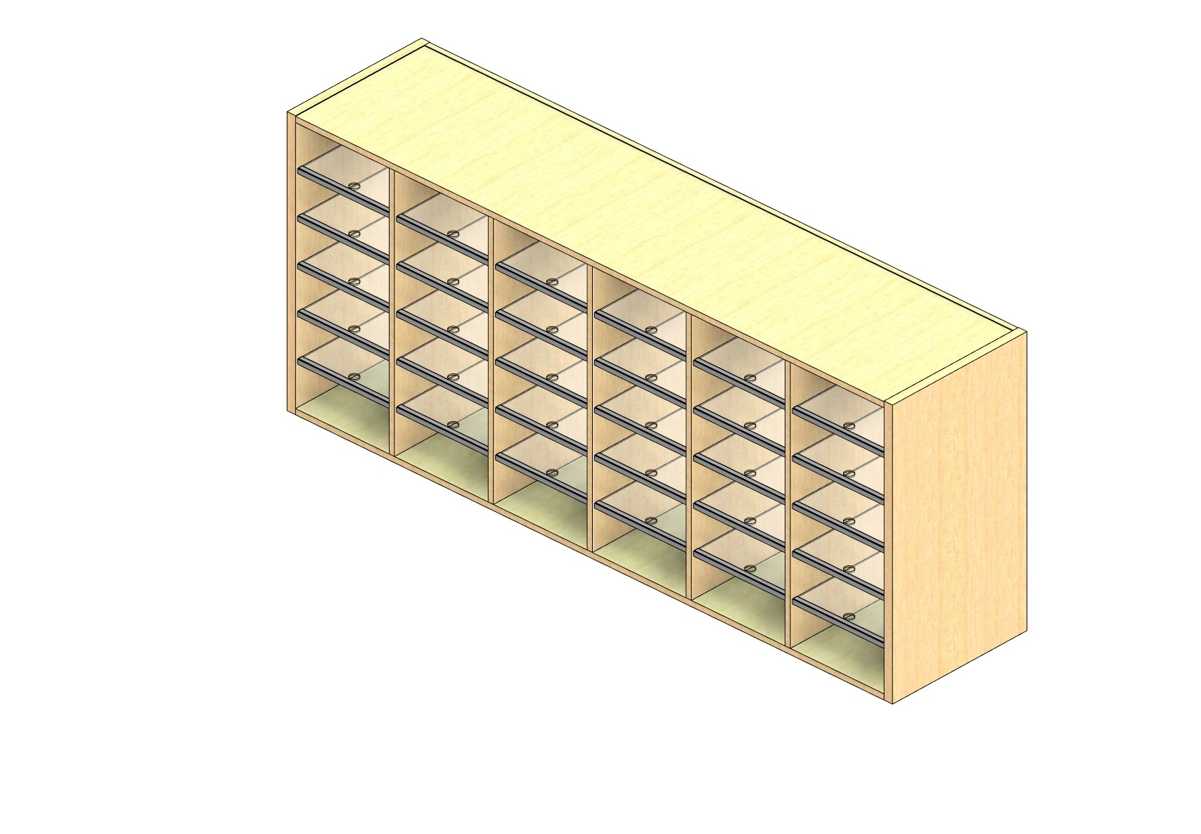 """Legal Sized Open Back Sort Module - 6 Columns - 30"""" Sorting Height w/ No Riser"""