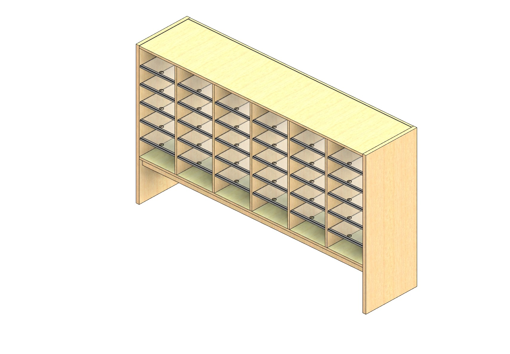"""Legal Sized Closed Back Sort Module - 6 Columns - 30"""" Sorting Height w/ 12"""" Riser"""
