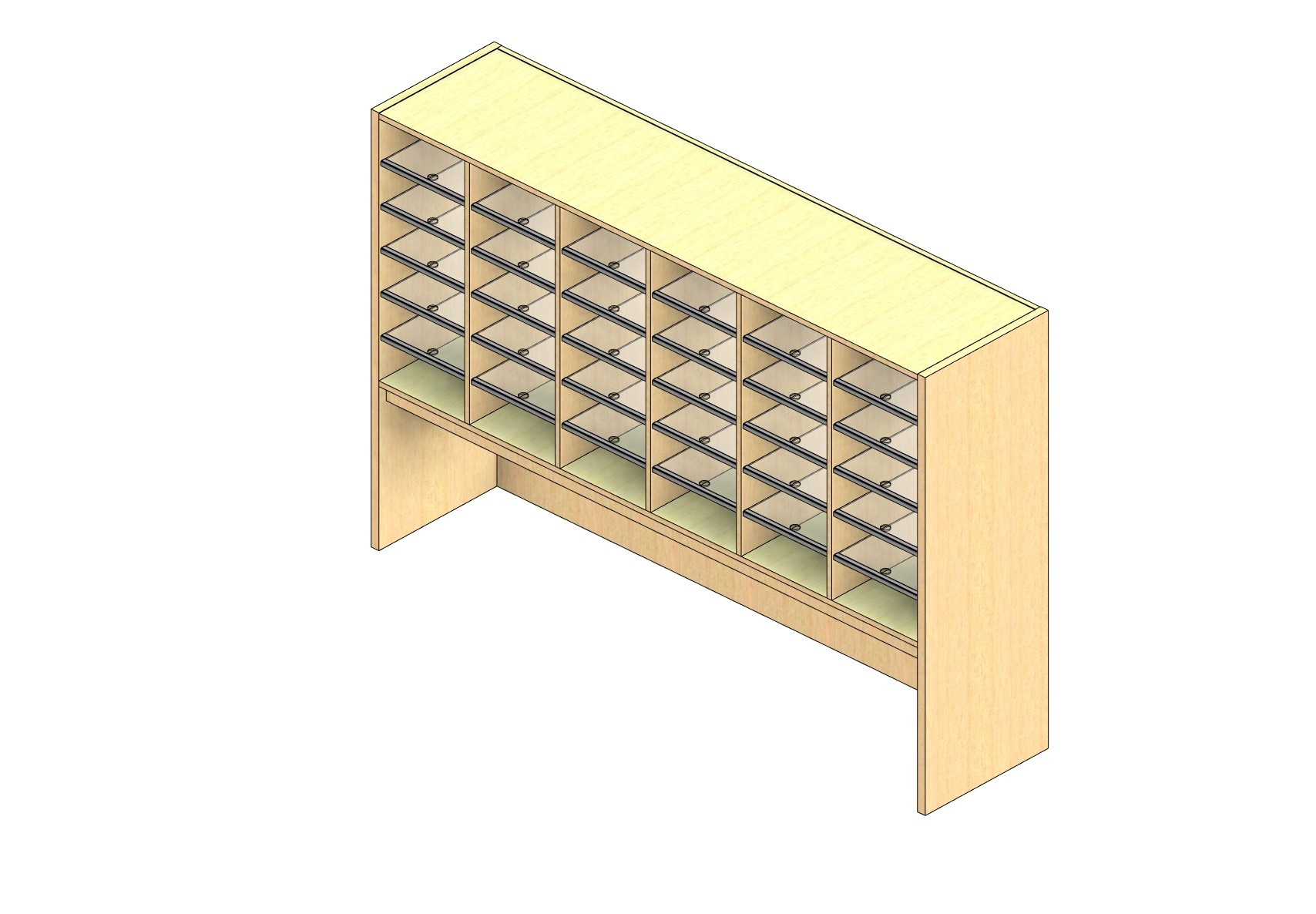 """Legal Sized Closed Back Sort Module - 6 Columns - 30"""" Sorting Height w/ 18"""" Riser"""