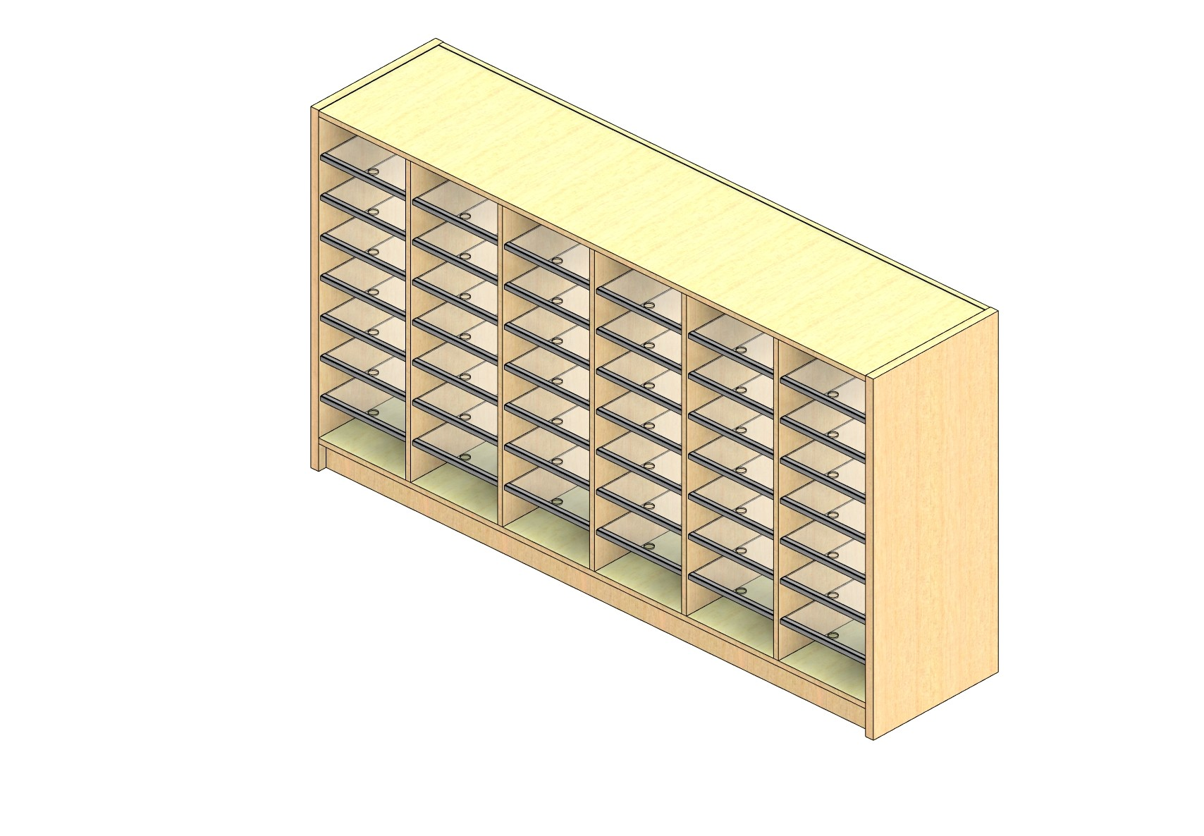 "Legal Sized Open Back Sort Module - 6 Columns - 36"" Sorting Height w/ 3"" Riser"