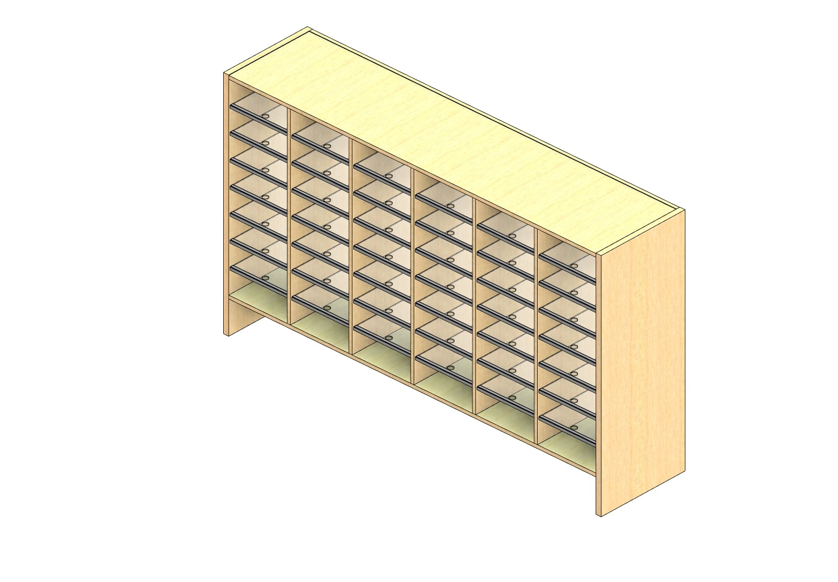 """Legal Sized Closed Back Sort Module - 6 Columns - 36"""" Sorting Height w/ 6"""" Riser"""