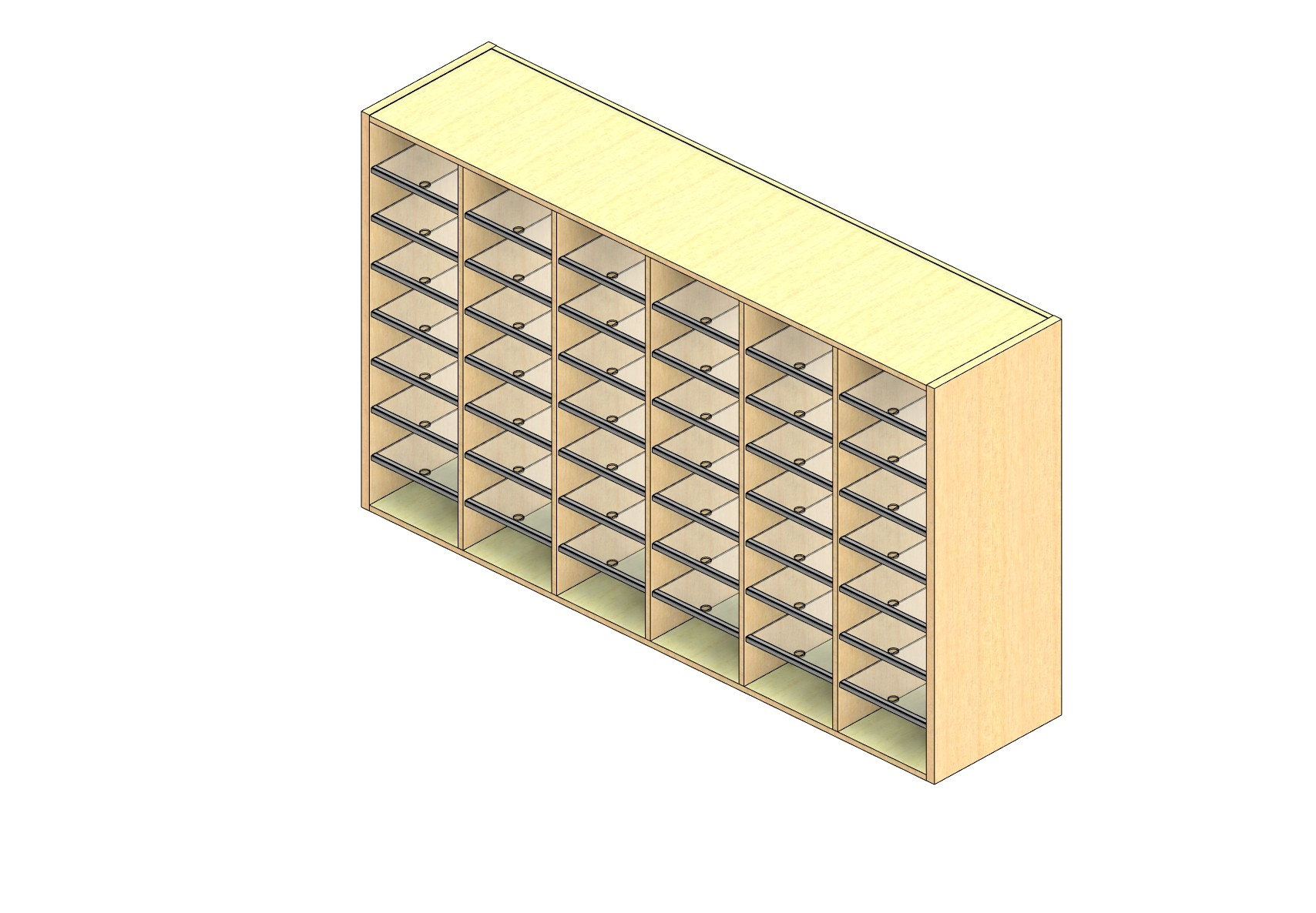 """Legal Sized Open Back Sort Module - 6 Columns - 42"""" Sorting Height w/ No Riser"""