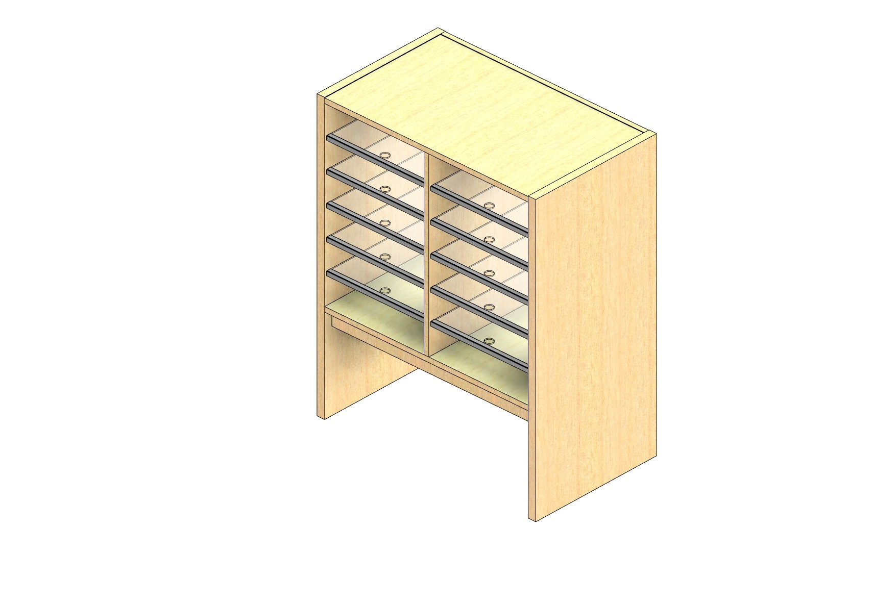 """Oversize Sized Closed Back Sort Module - 2 Columns - 24"""" Sorting Height w/ 12"""" Riser"""