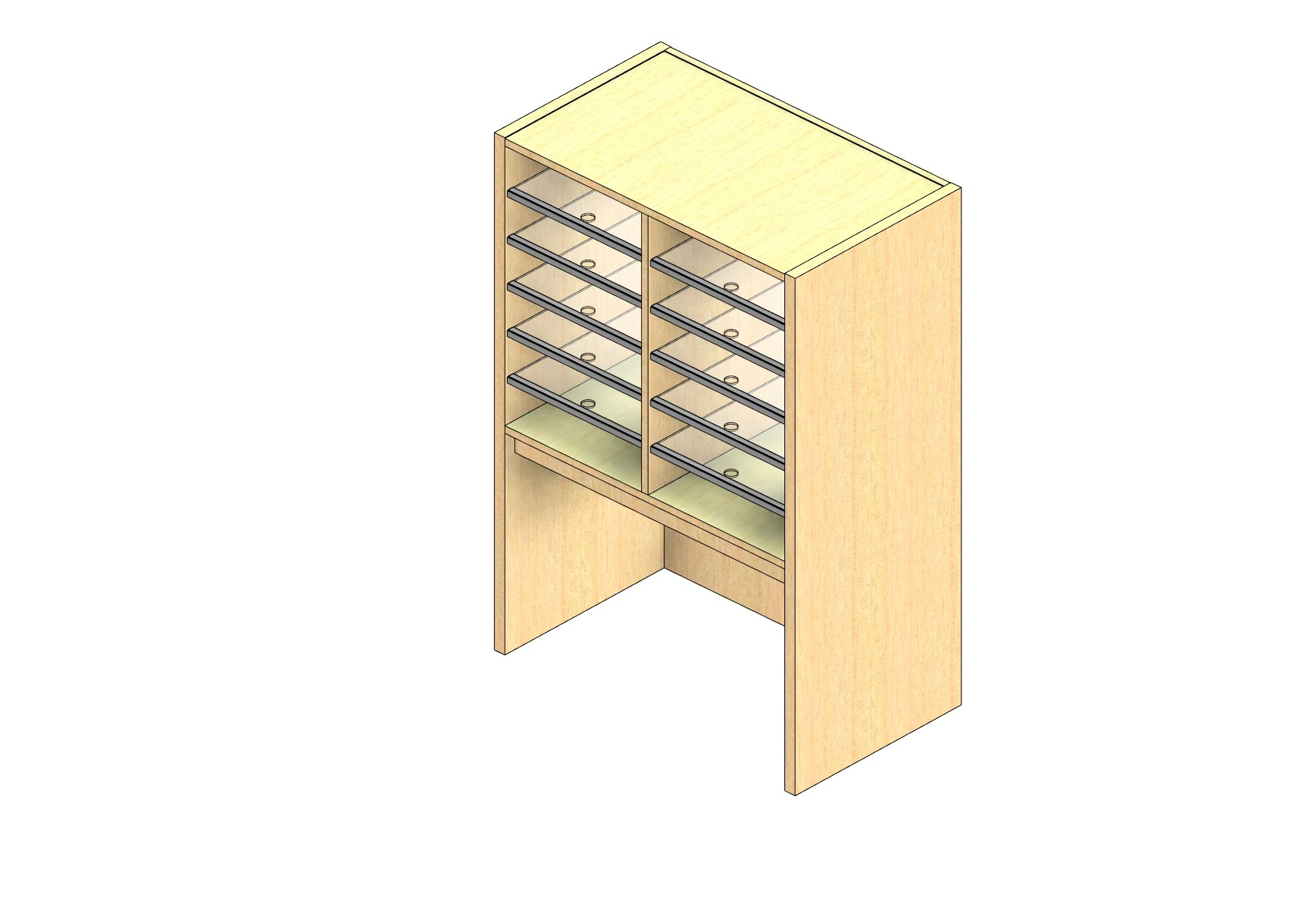 """Oversize Sized Closed Back Sort Module - 2 Columns - 24"""" Sorting Height w/ 18"""" Riser"""