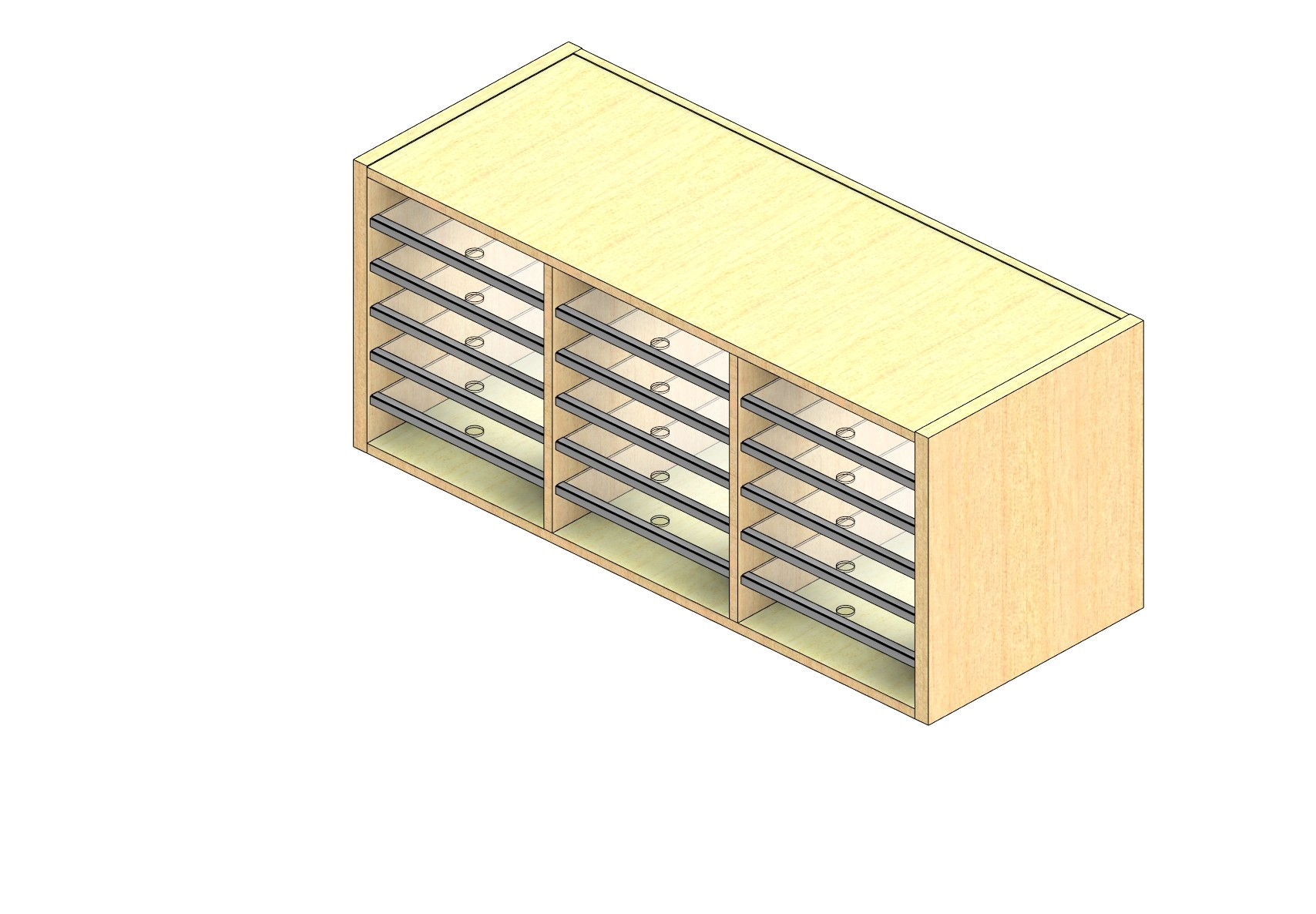 """Oversize Sized Closed Back Sort Module - 3 Columns - 18"""" Sorting Height w/ No Riser"""