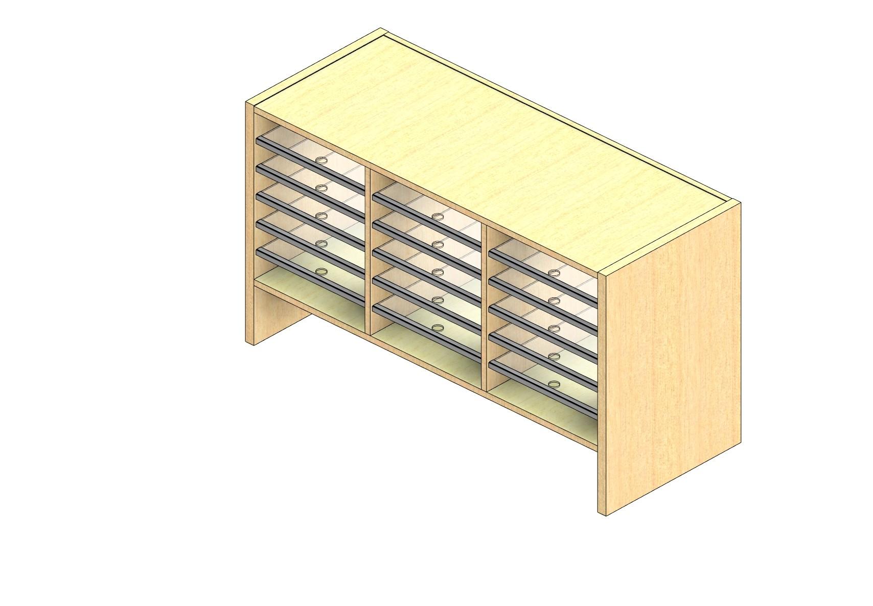 "Oversize Sized Open Back Sort Module - 3 Columns - 18"" Sorting Height w/ 6"" Riser"