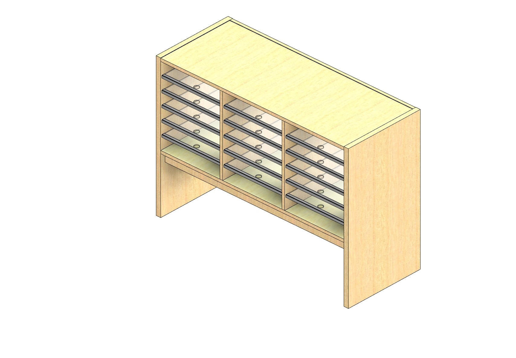 "Oversize Sized Plexi Back Sort Module - 3 Columns - 18"" Sorting Height w/ 12"" Riser"