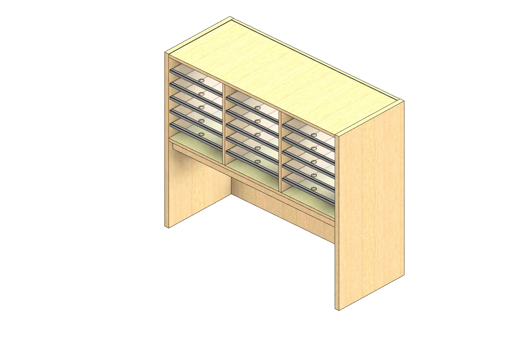 """Oversize Sized Closed Back Sort Module - 3 Columns - 18"""" Sorting Height w/ 18"""" Riser"""