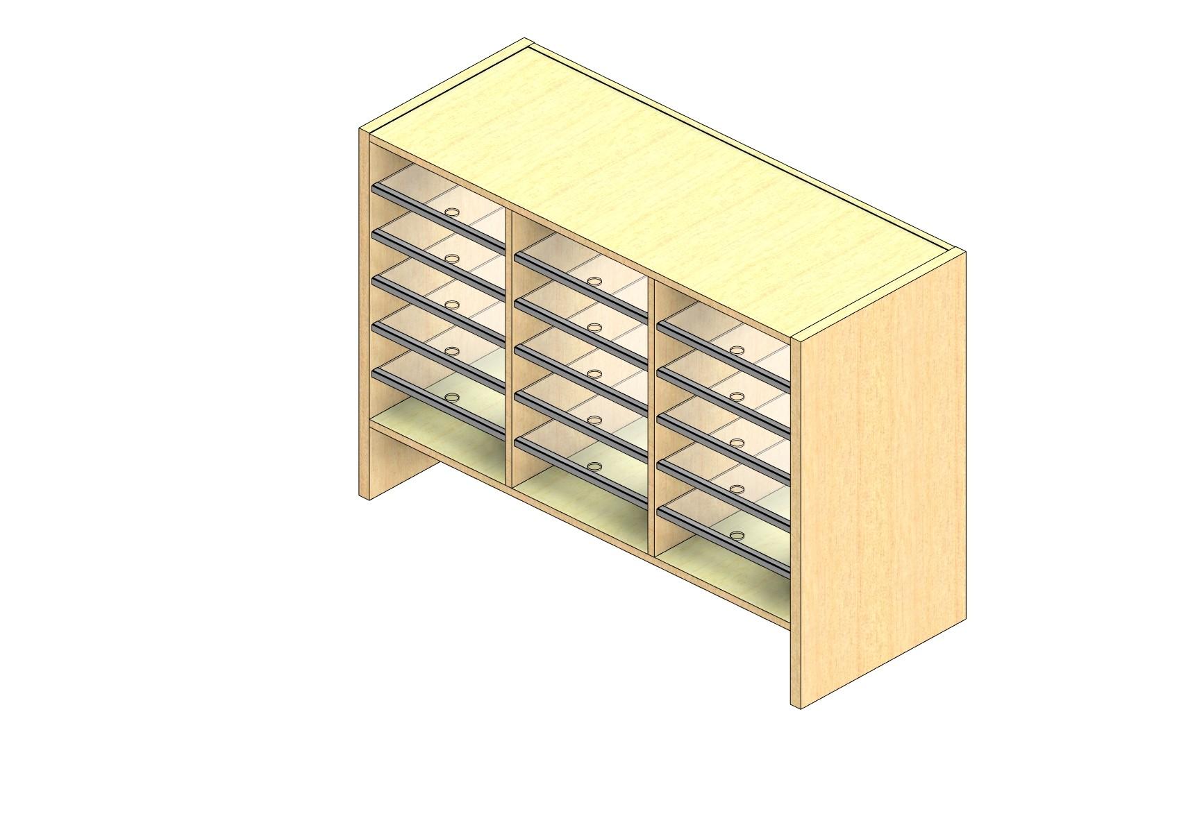 "Oversize Sized Plexi Back Sort Module - 3 Columns - 24"" Sorting Height w/ 6"" Riser"