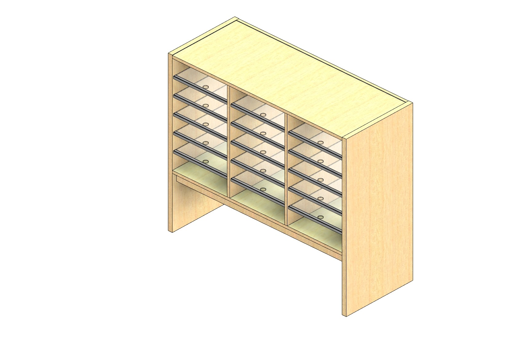 "Oversize Sized Open Back Sort Module - 3 Columns - 24"" Sorting Height w/ 12"" Riser"