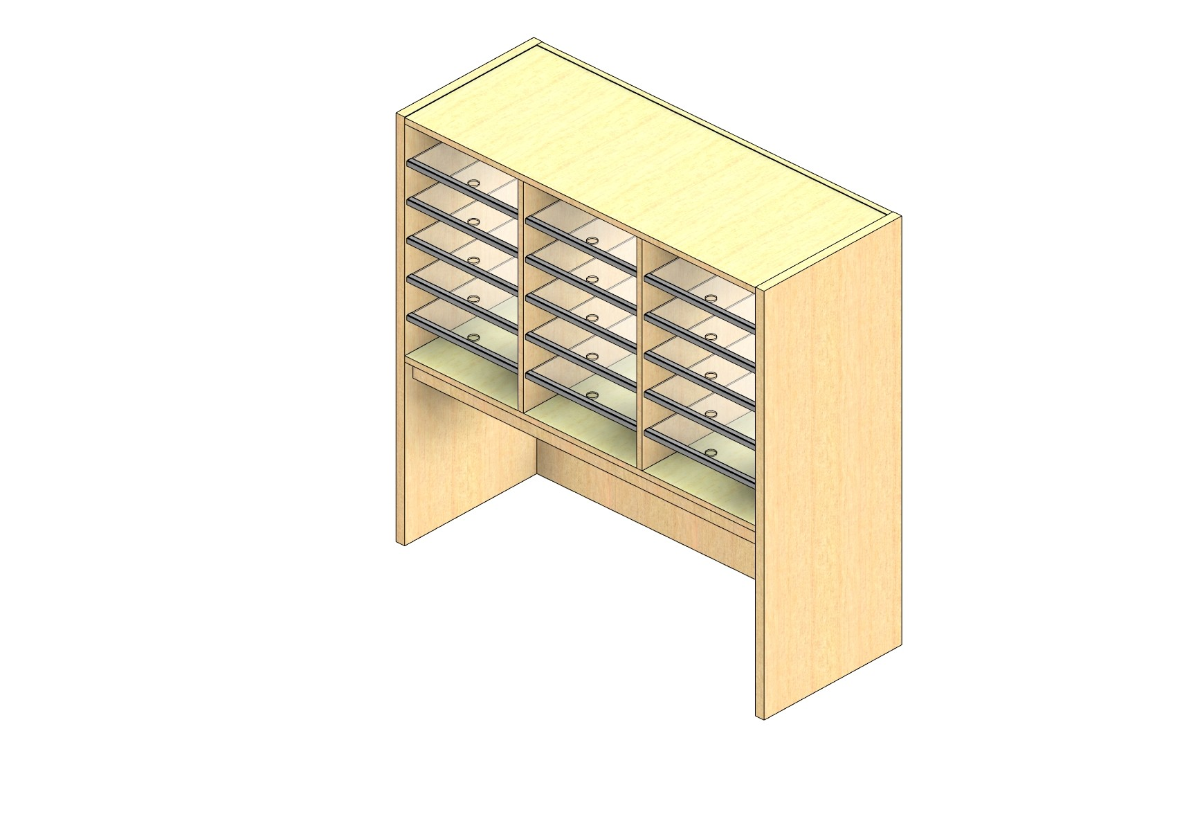 """Oversize Sized Closed Back Sort Module - 3 Columns - 24"""" Sorting Height w/ 18"""" Riser"""