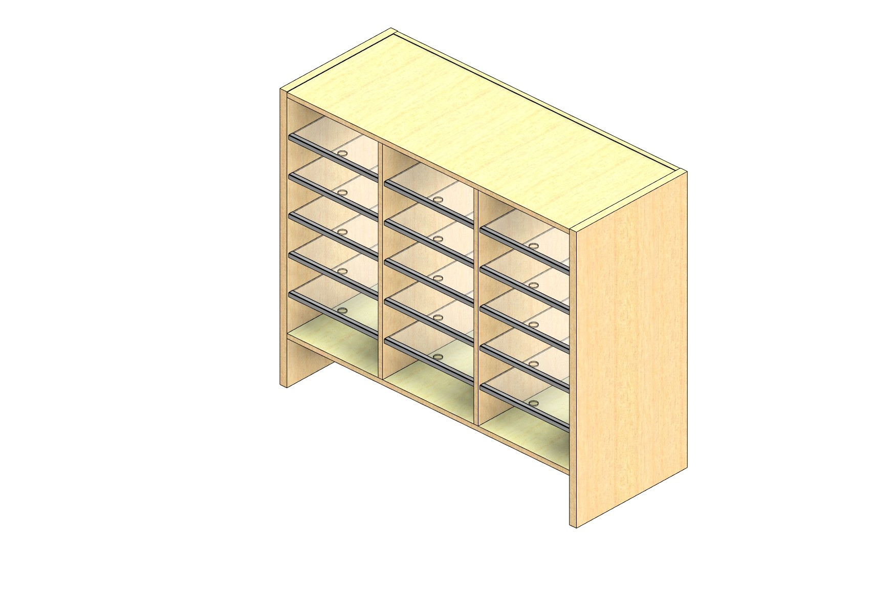 "Oversize Sized Open Back Sort Module - 3 Columns - 30"" Sorting Height w/ 6"" Riser"