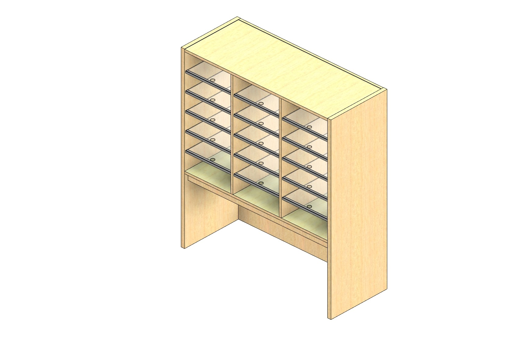 """Oversize Sized Closed Back Sort Module - 3 Columns - 30"""" Sorting Height w/ 18"""" Riser"""