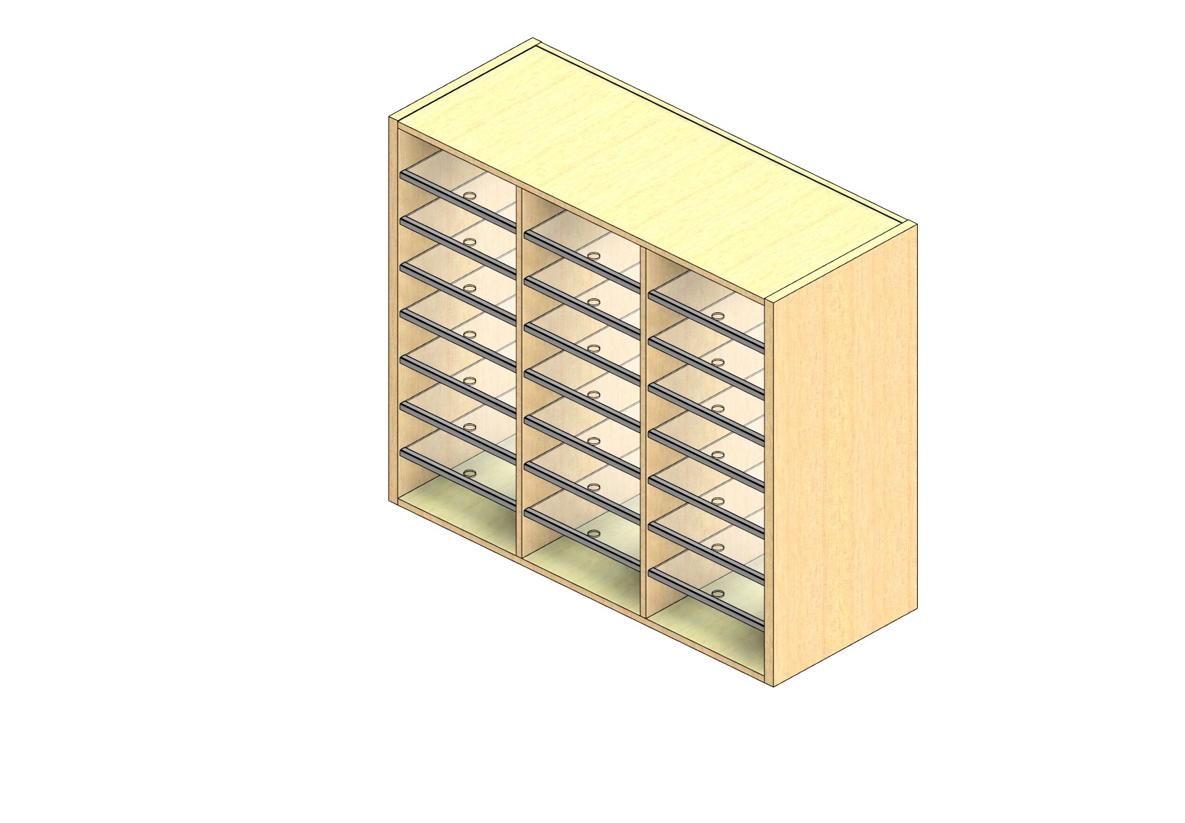 """Oversize Sized Closed Back Sort Module - 3 Columns - 36"""" Sorting Height w/ No Riser"""
