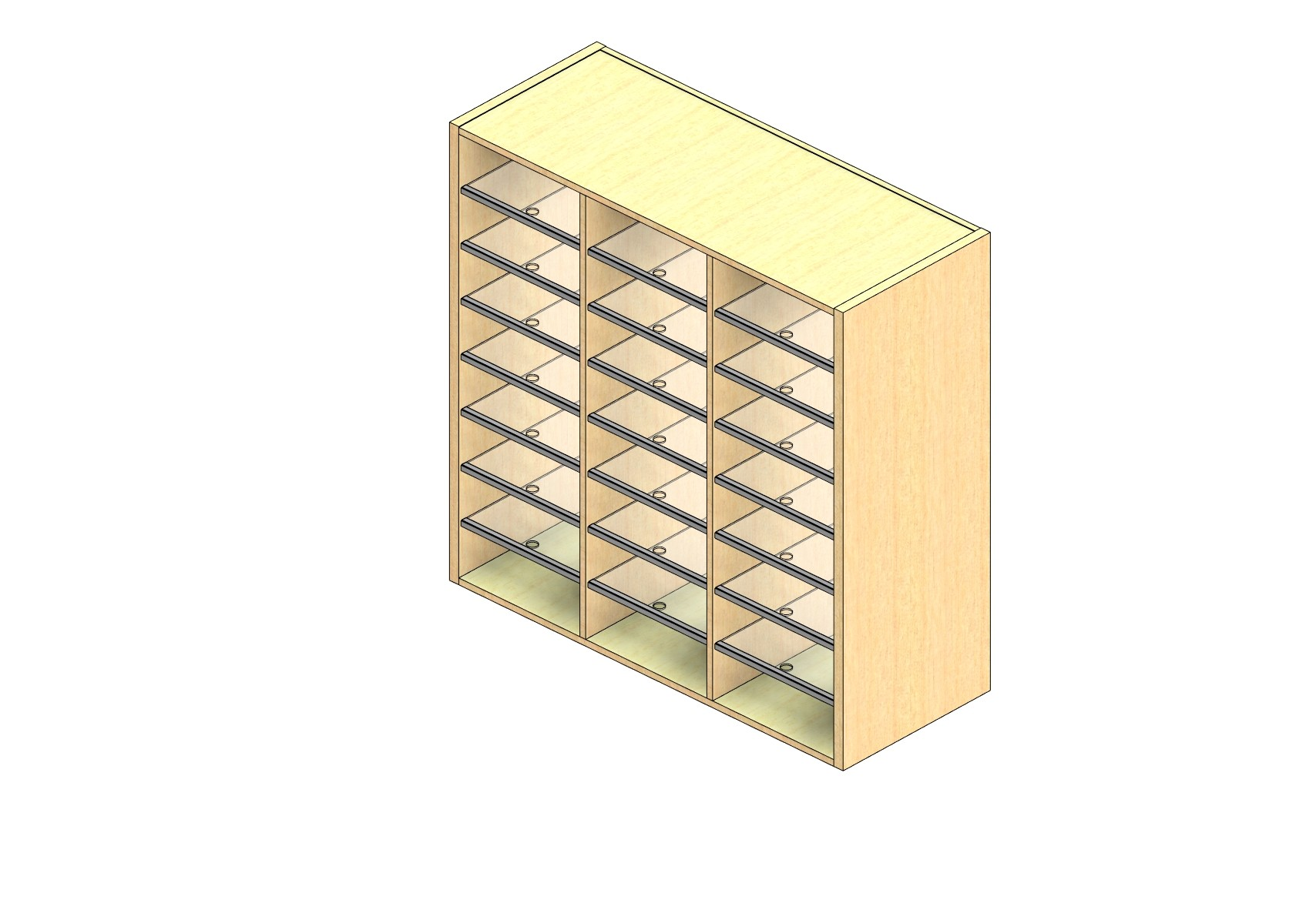 "Oversize Sized Open Back Sort Module - 3 Columns - 42"" Sorting Height w/ No Riser"