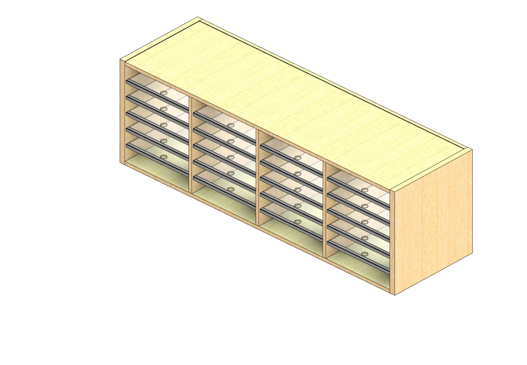 """Oversize Sized Closed Back Sort Module - 4 Columns - 18"""" Sorting Height w/ No Riser"""