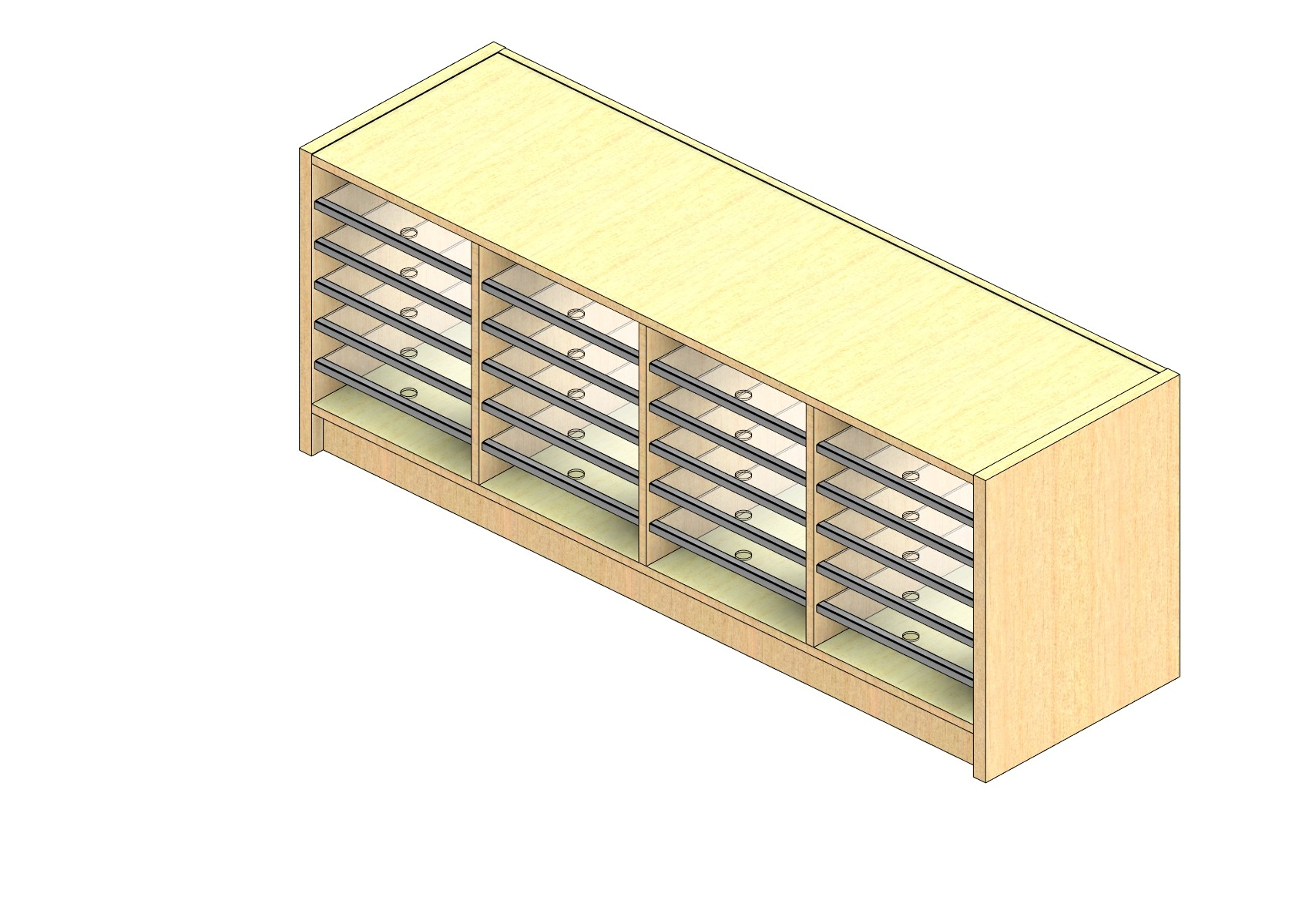 """Oversize Sized Closed Back Sort Module - 4 Columns - 18"""" Sorting Height w/ 3"""" Riser"""