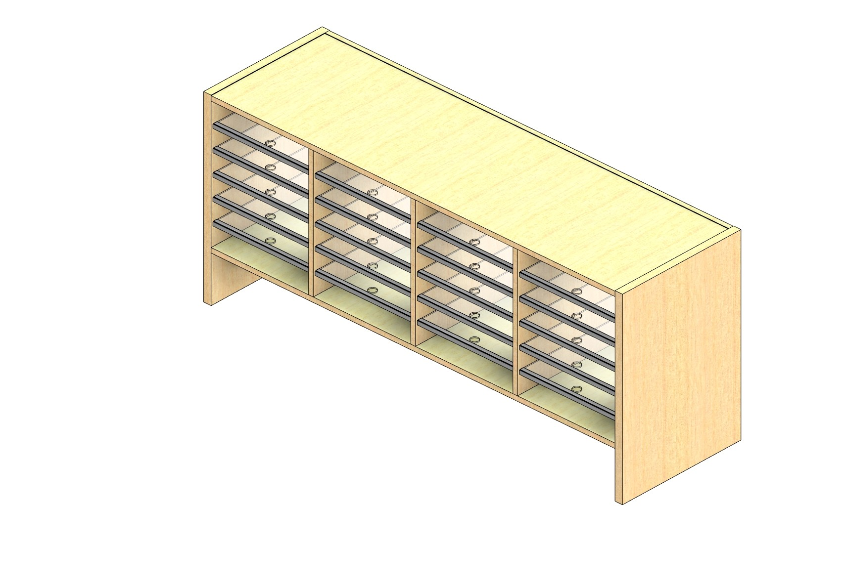 """Oversize Sized Closed Back Sort Module - 4 Columns - 18"""" Sorting Height w/ 6"""" Riser"""