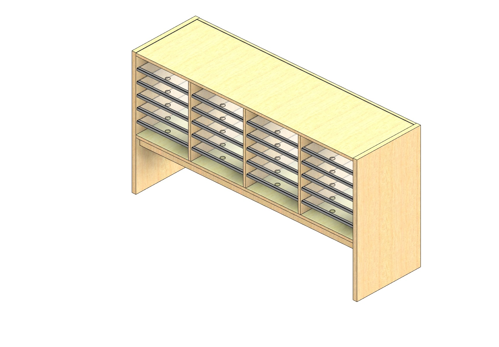 """Oversize Sized Closed Back Sort Module - 4 Columns - 18"""" Sorting Height w/ 12"""" Riser"""