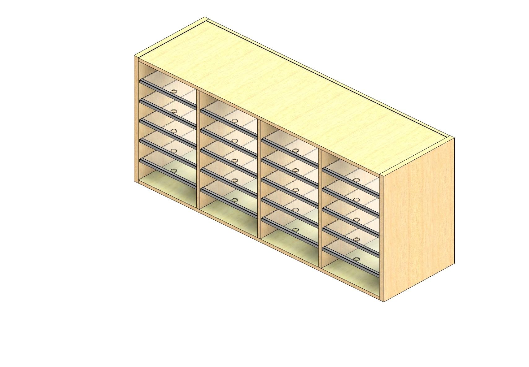 "Oversize Sized Plexi Back Sort Module - 4 Columns - 24"" Sorting Height w/ No Riser"