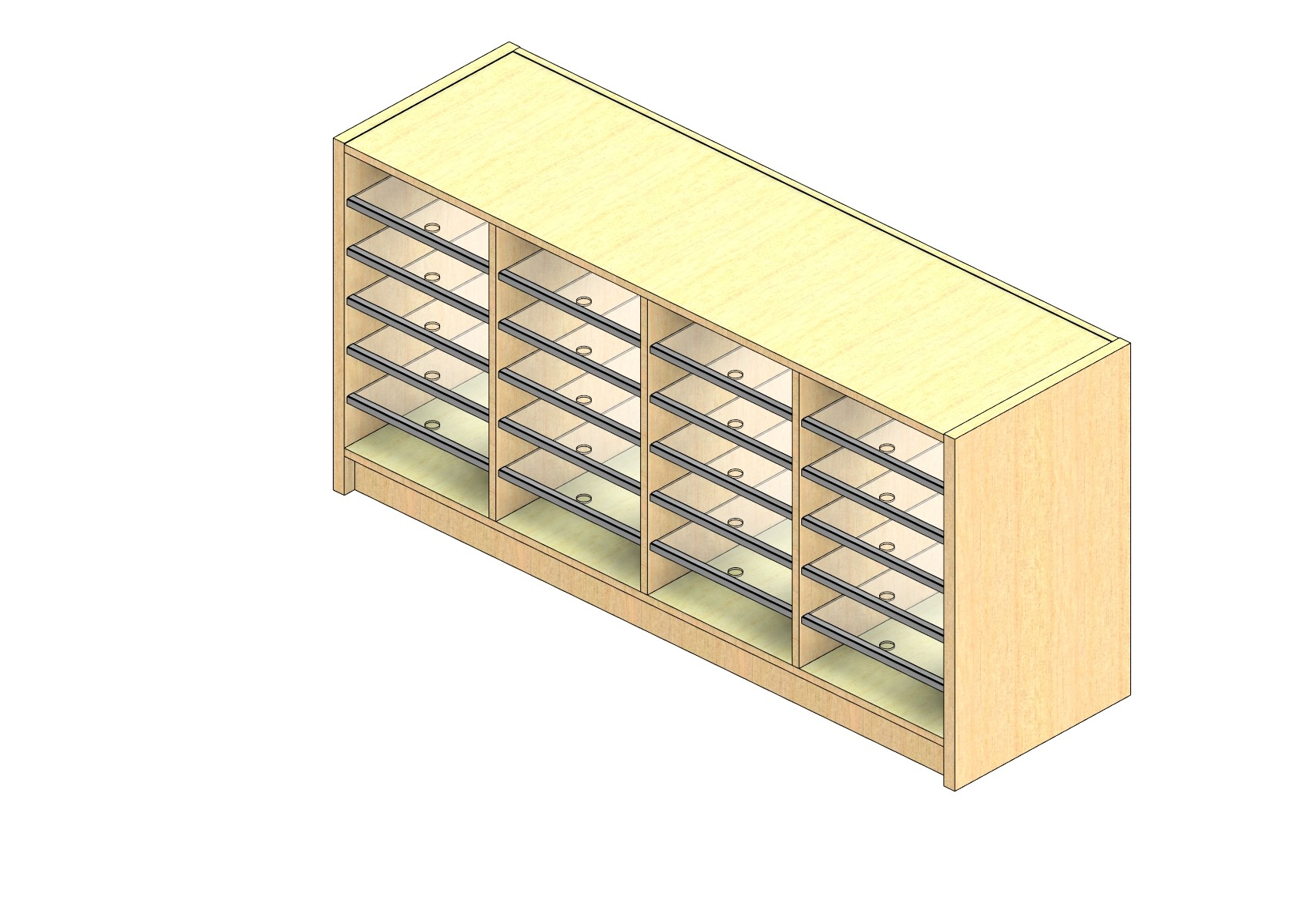 """Oversize Sized Closed Back Sort Module - 4 Columns - 24"""" Sorting Height w/ 3"""" Riser"""