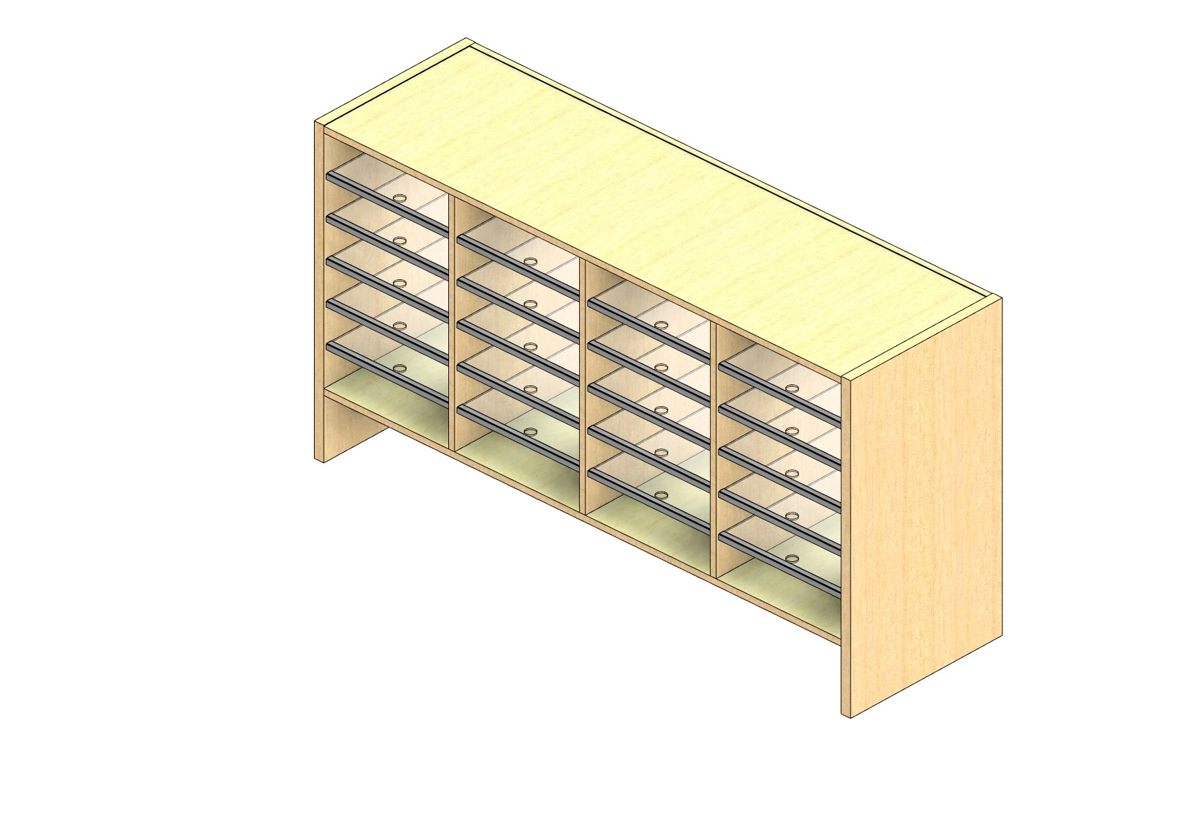"Oversize Sized Open Back Sort Module - 4 Columns - 24"" Sorting Height w/ 6"" Riser"