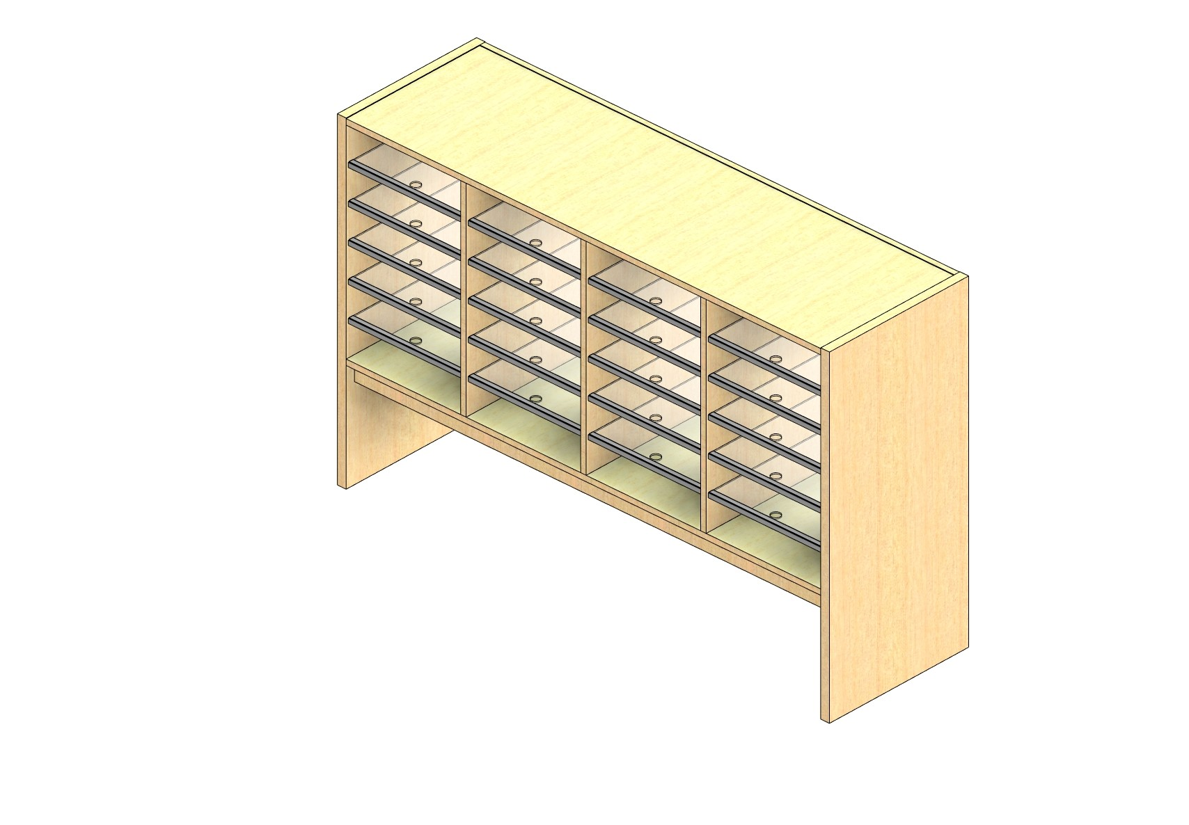 """Oversize Sized Closed Back Sort Module - 4 Columns - 24"""" Sorting Height w/ 12"""" Riser"""