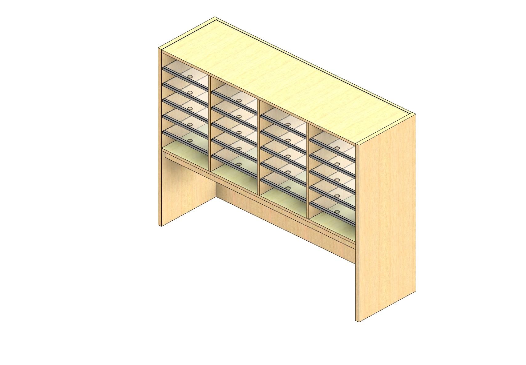 "Oversize Sized Plexi Back Sort Module - 4 Columns - 24"" Sorting Height w/ 18"" Riser"