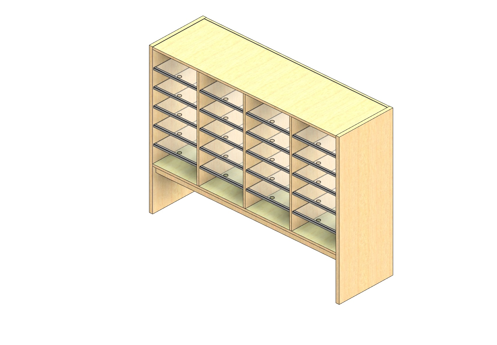 """Oversize Sized Closed Back Sort Module - 4 Columns - 30"""" Sorting Height w/ 12"""" Riser"""