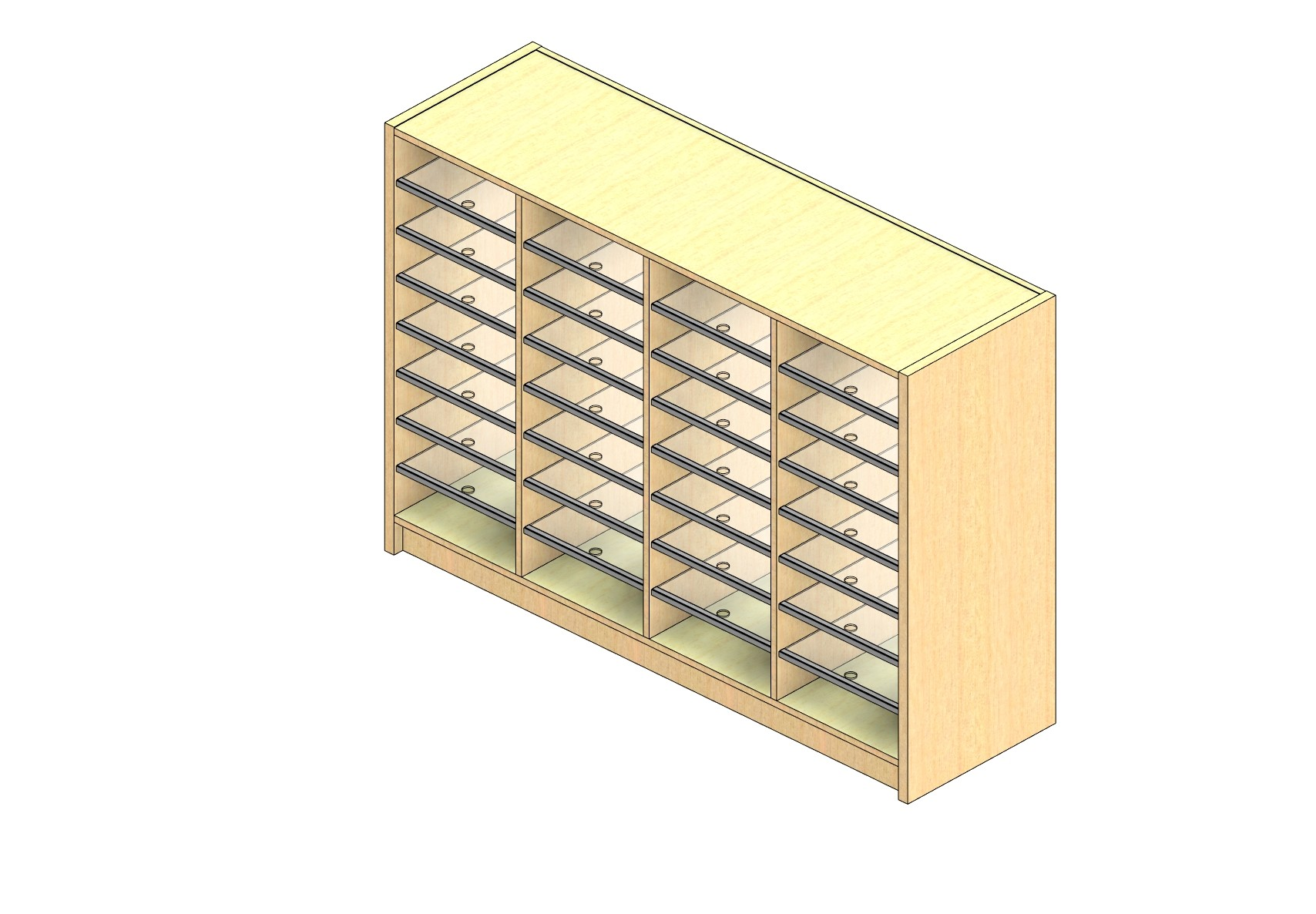 """Oversize Sized Closed Back Sort Module - 4 Columns - 36"""" Sorting Height w/ 3"""" Riser"""
