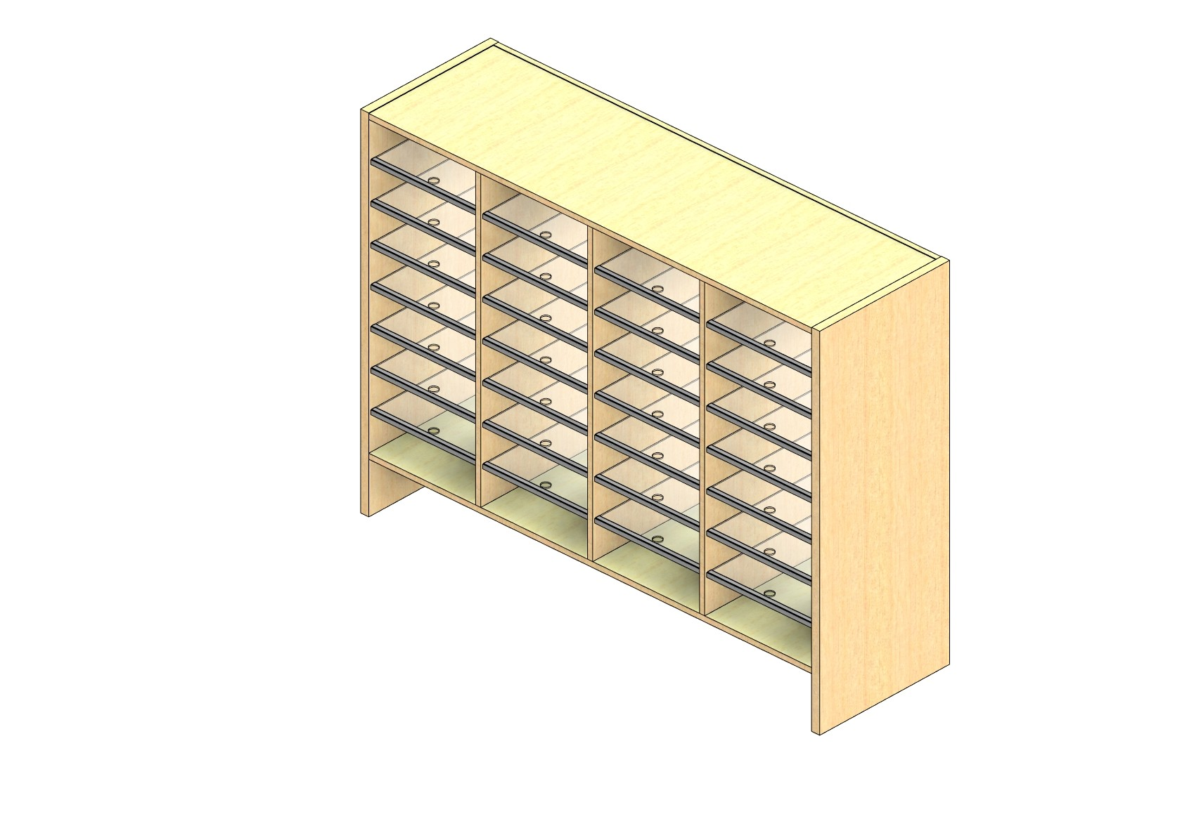 """Oversize Sized Closed Back Sort Module - 4 Columns - 36"""" Sorting Height w/ 6"""" Riser"""