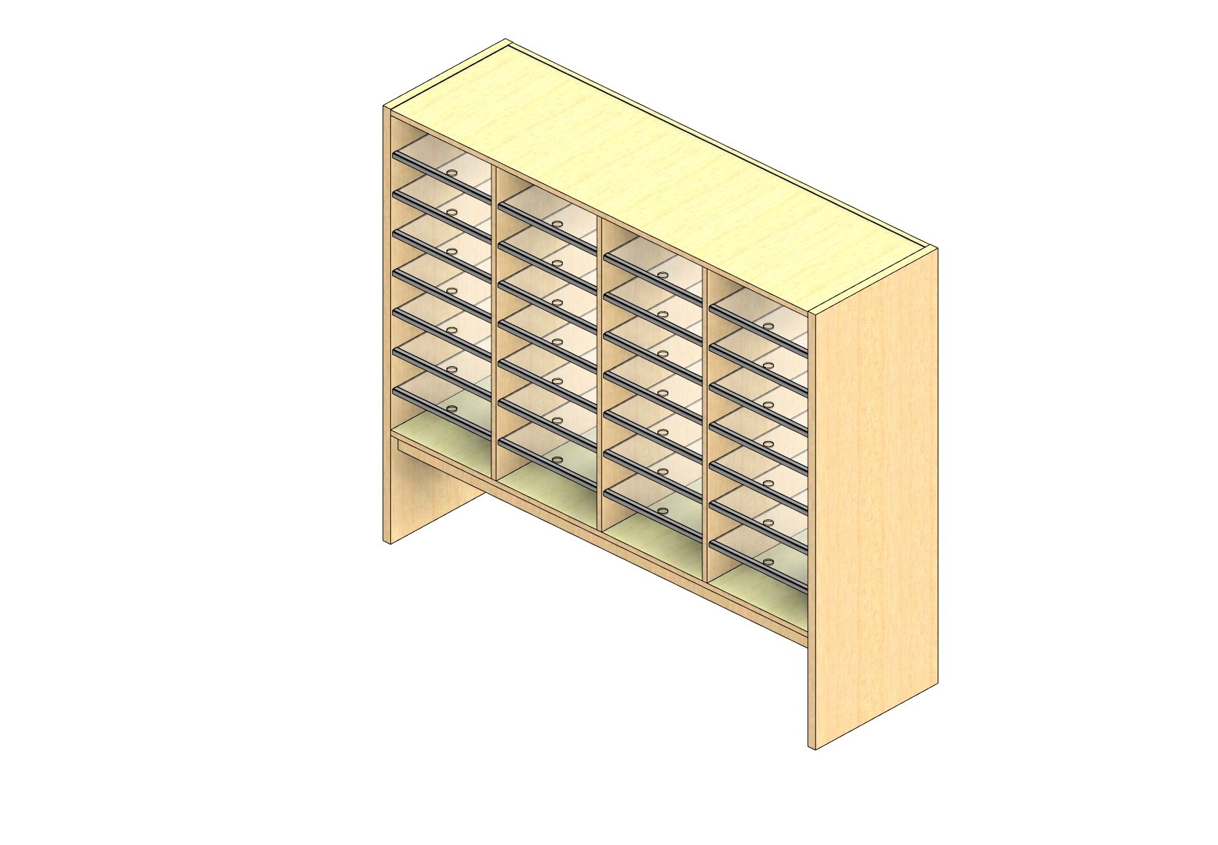"""Oversize Sized Closed Back Sort Module - 4 Columns - 36"""" Sorting Height w/ 12"""" Riser"""