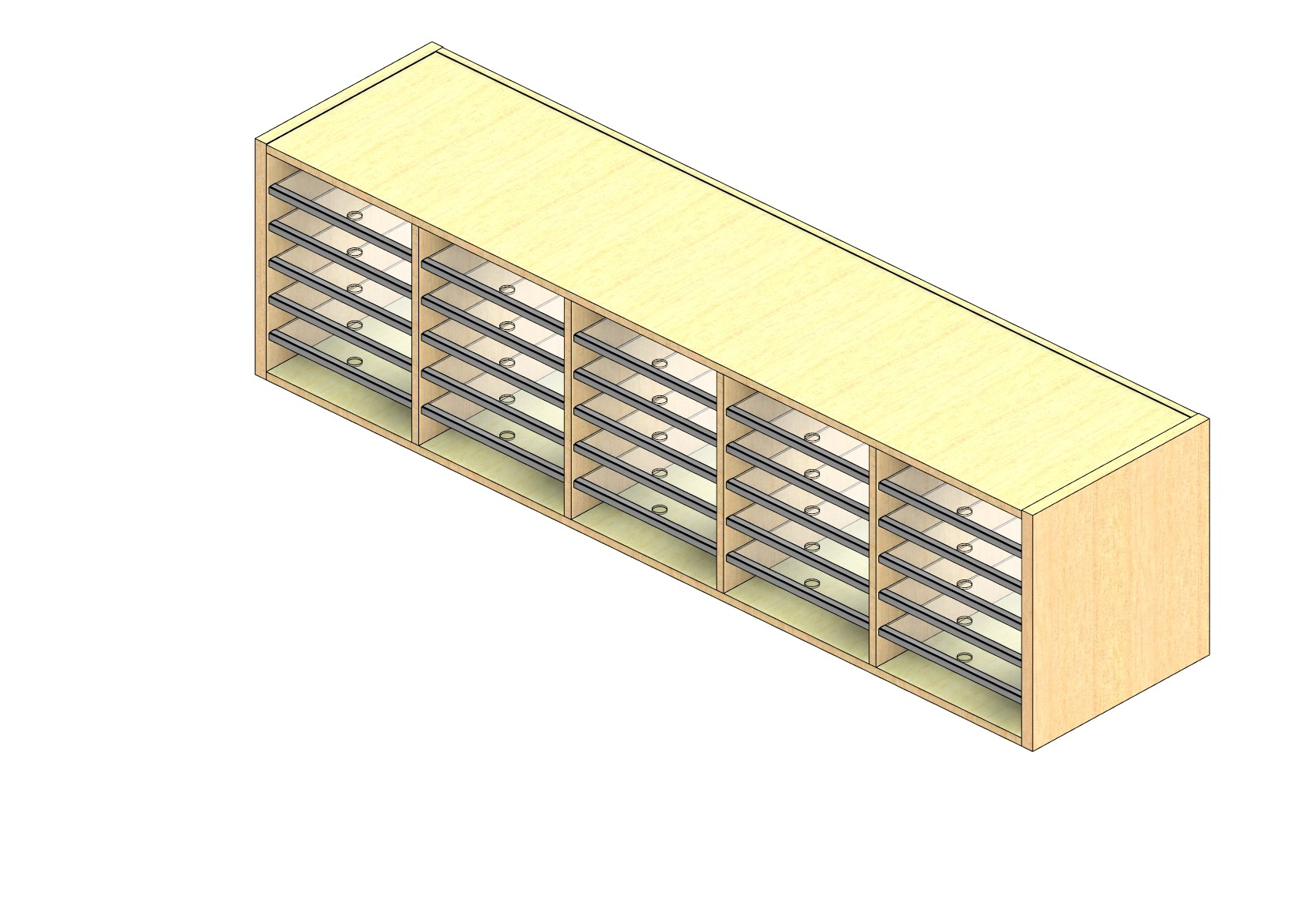"""Oversize Sized Closed Back Sort Module - 5 Columns - 18"""" Sorting Height w/ No Riser"""