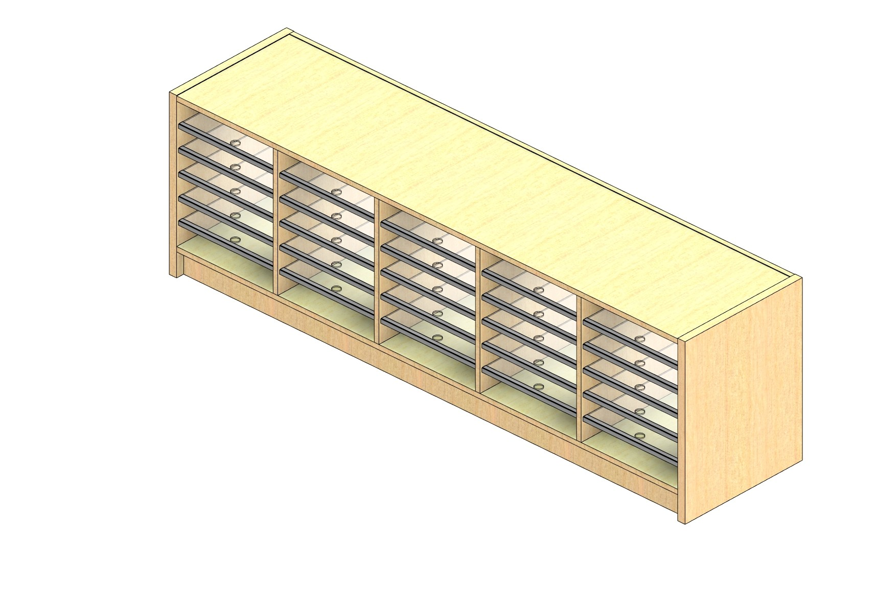 """Oversize Sized Closed Back Sort Module - 5 Columns - 18"""" Sorting Height w/ 3"""" Riser"""
