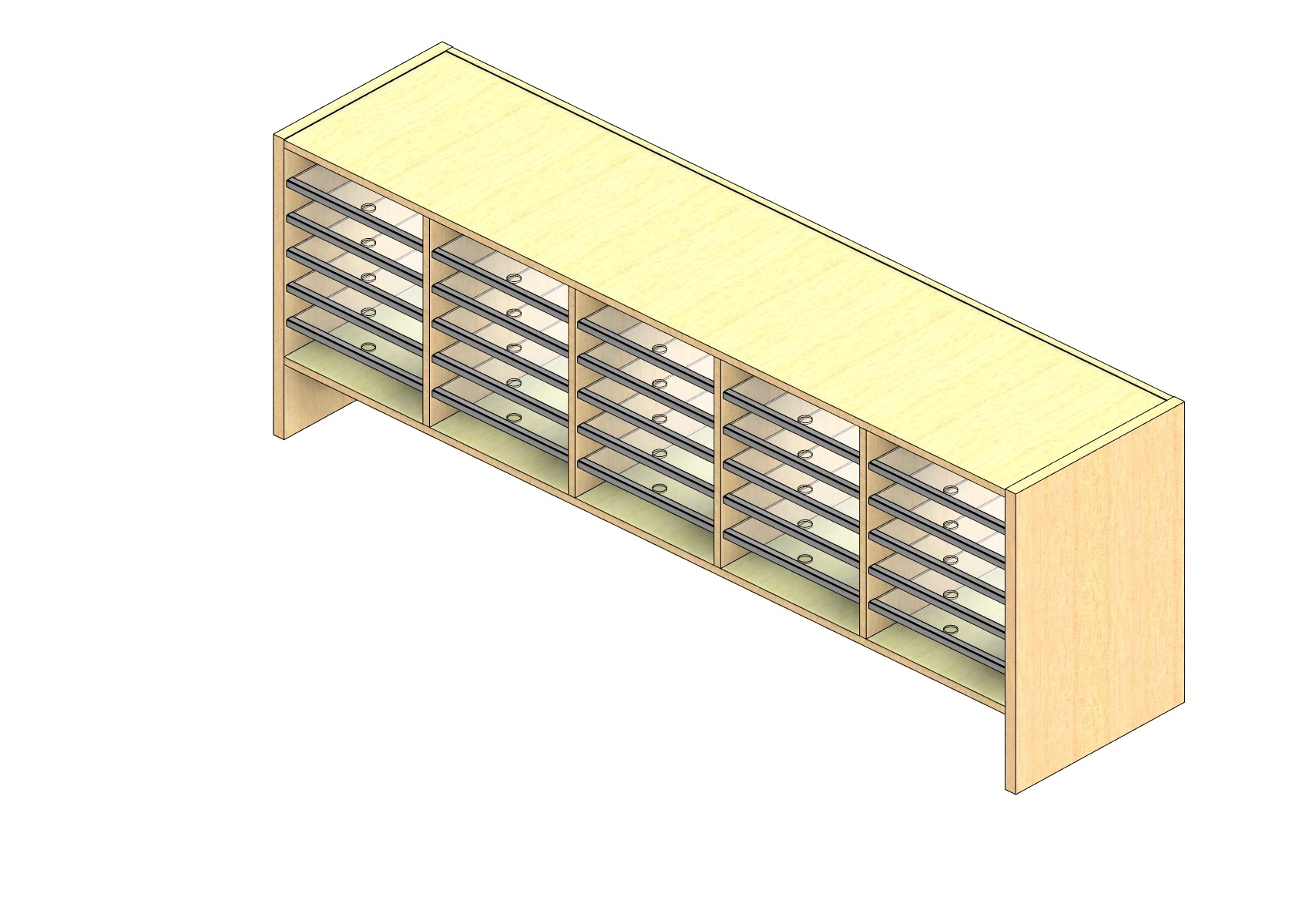 """Oversize Sized Closed Back Sort Module - 5 Columns - 18"""" Sorting Height w/ 6"""" Riser"""