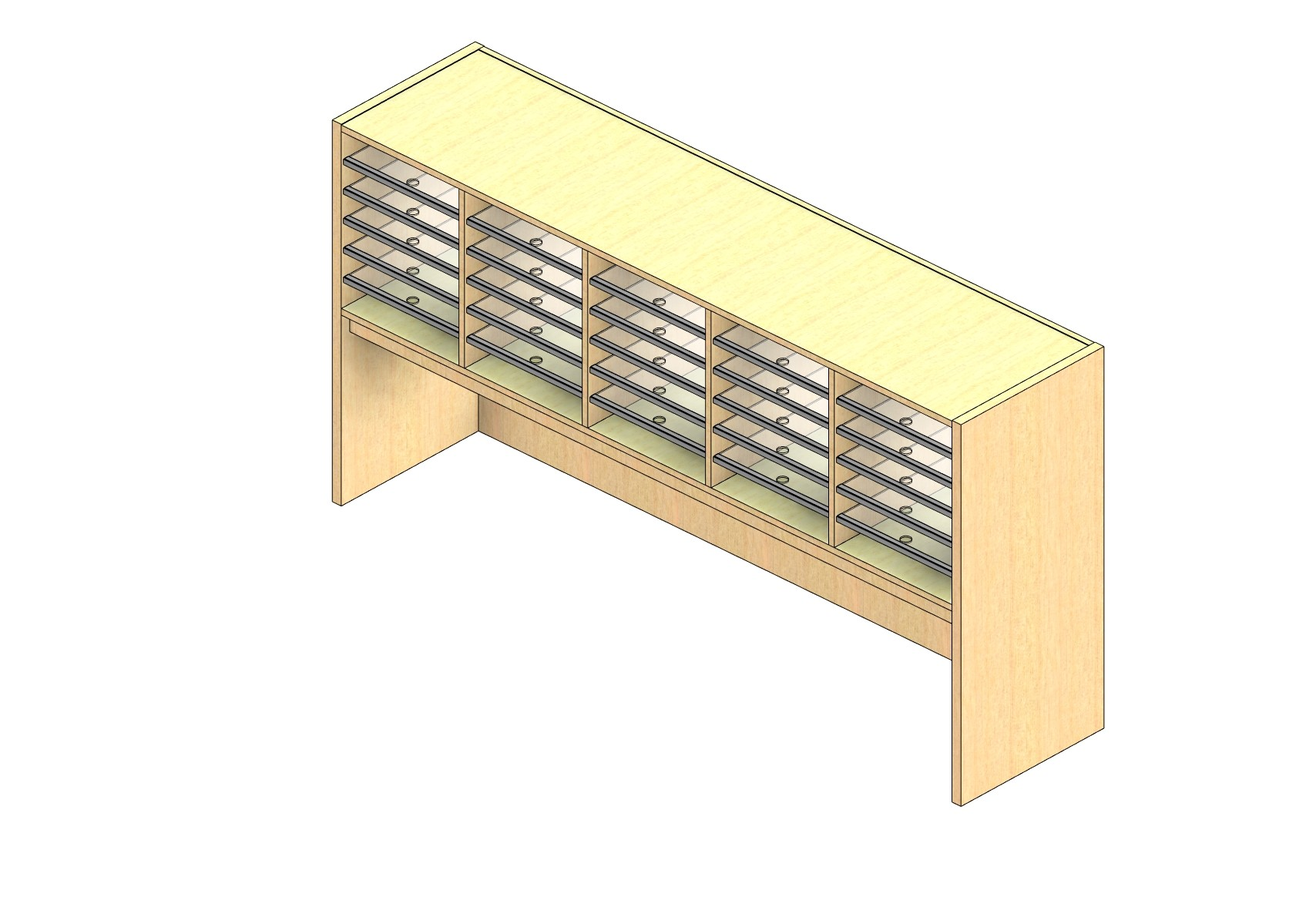"""Oversize Sized Closed Back Sort Module - 5 Columns - 18"""" Sorting Height w/ 18"""" Riser"""