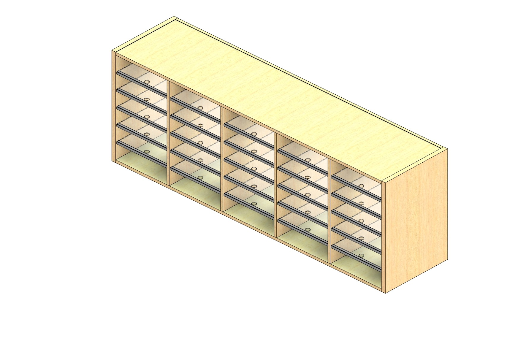 """Oversize Sized Closed Back Sort Module - 5 Columns - 24"""" Sorting Height w/ No Riser"""
