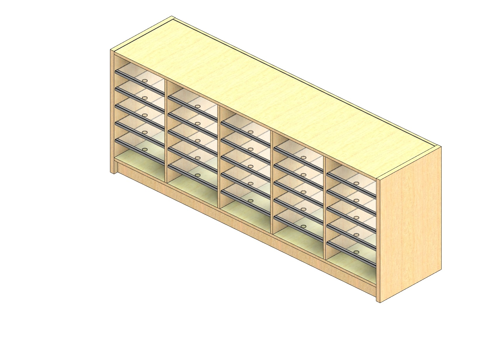 """Oversize Sized Closed Back Sort Module - 5 Columns - 24"""" Sorting Height w/ 3"""" Riser"""