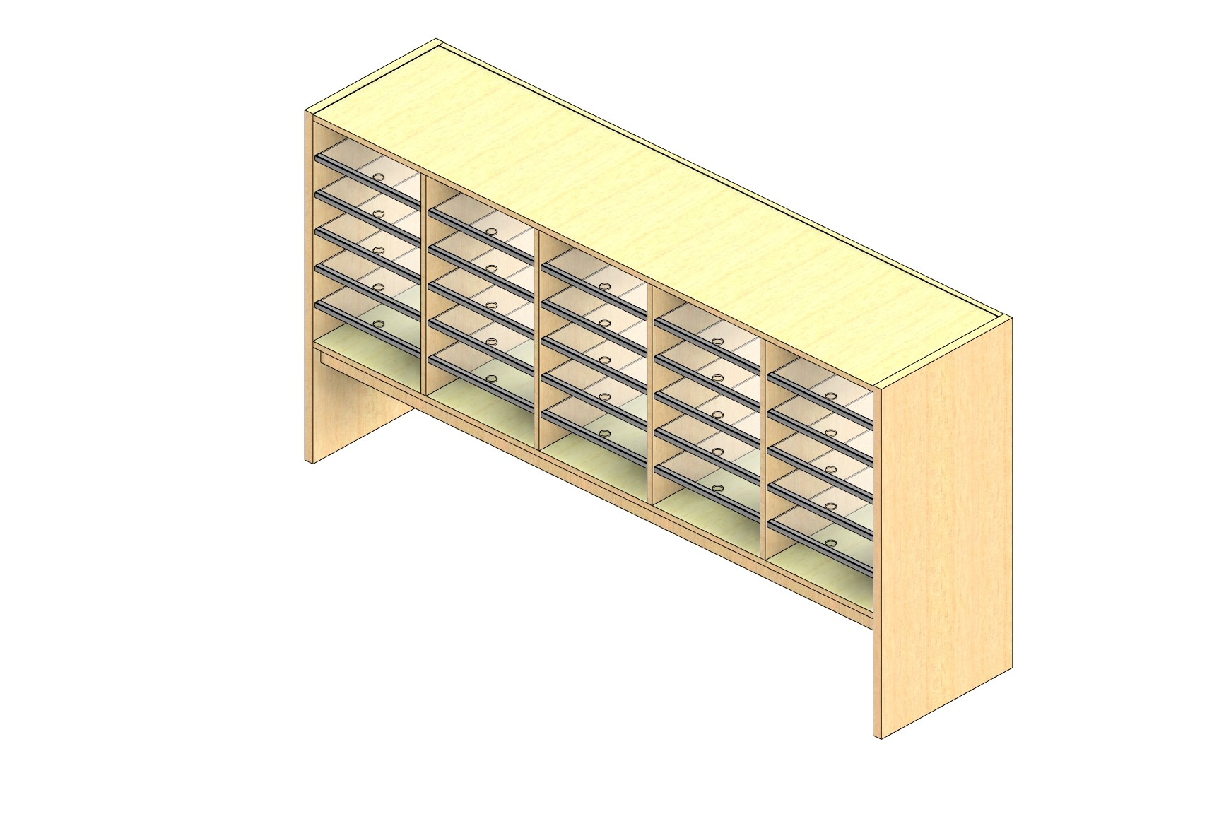 """Oversize Sized Closed Back Sort Module - 5 Columns - 24"""" Sorting Height w/ 12"""" Riser"""
